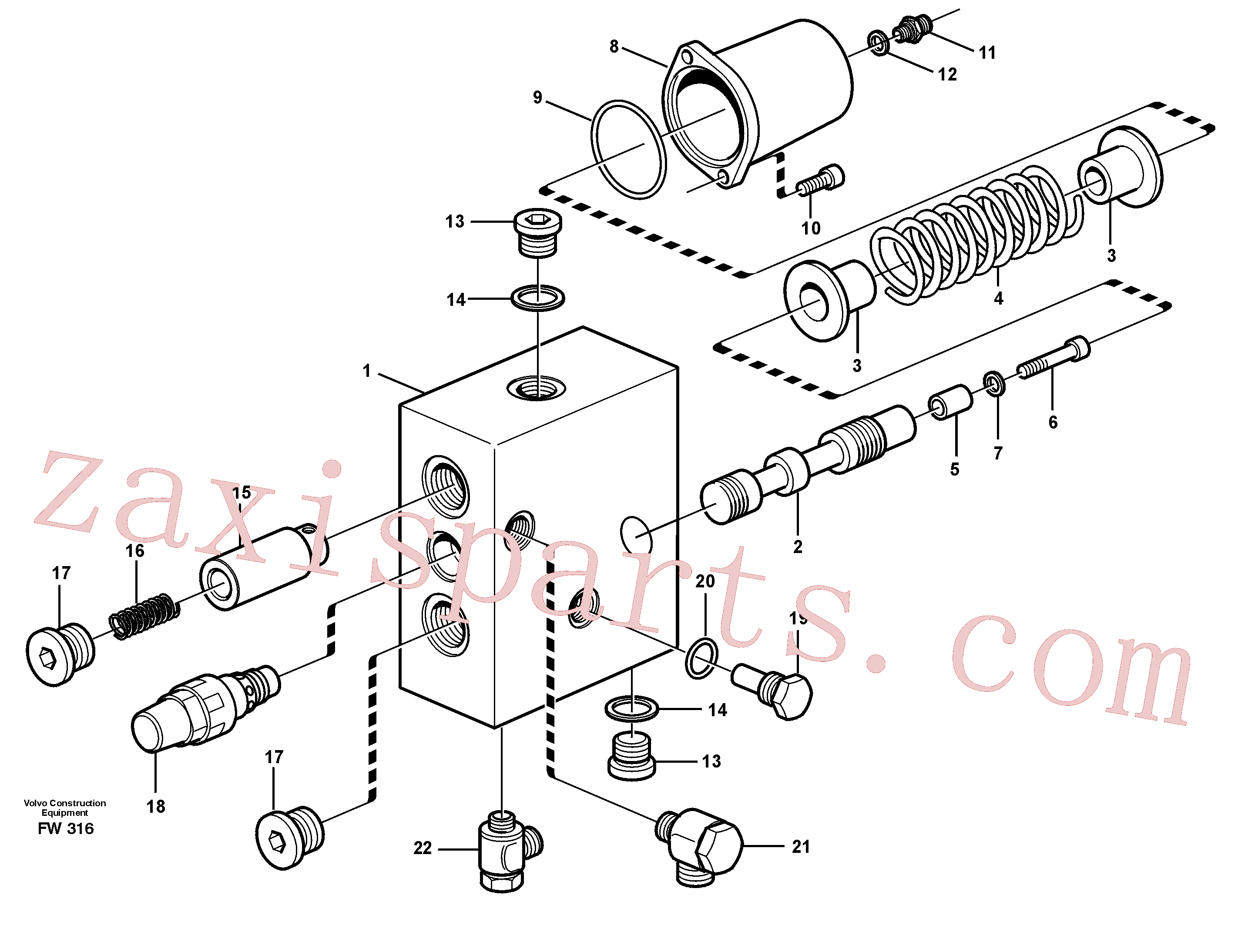VOE14343680 for Volvo Hose rupture valve, dipper arm cylinder(FW316 assembly)