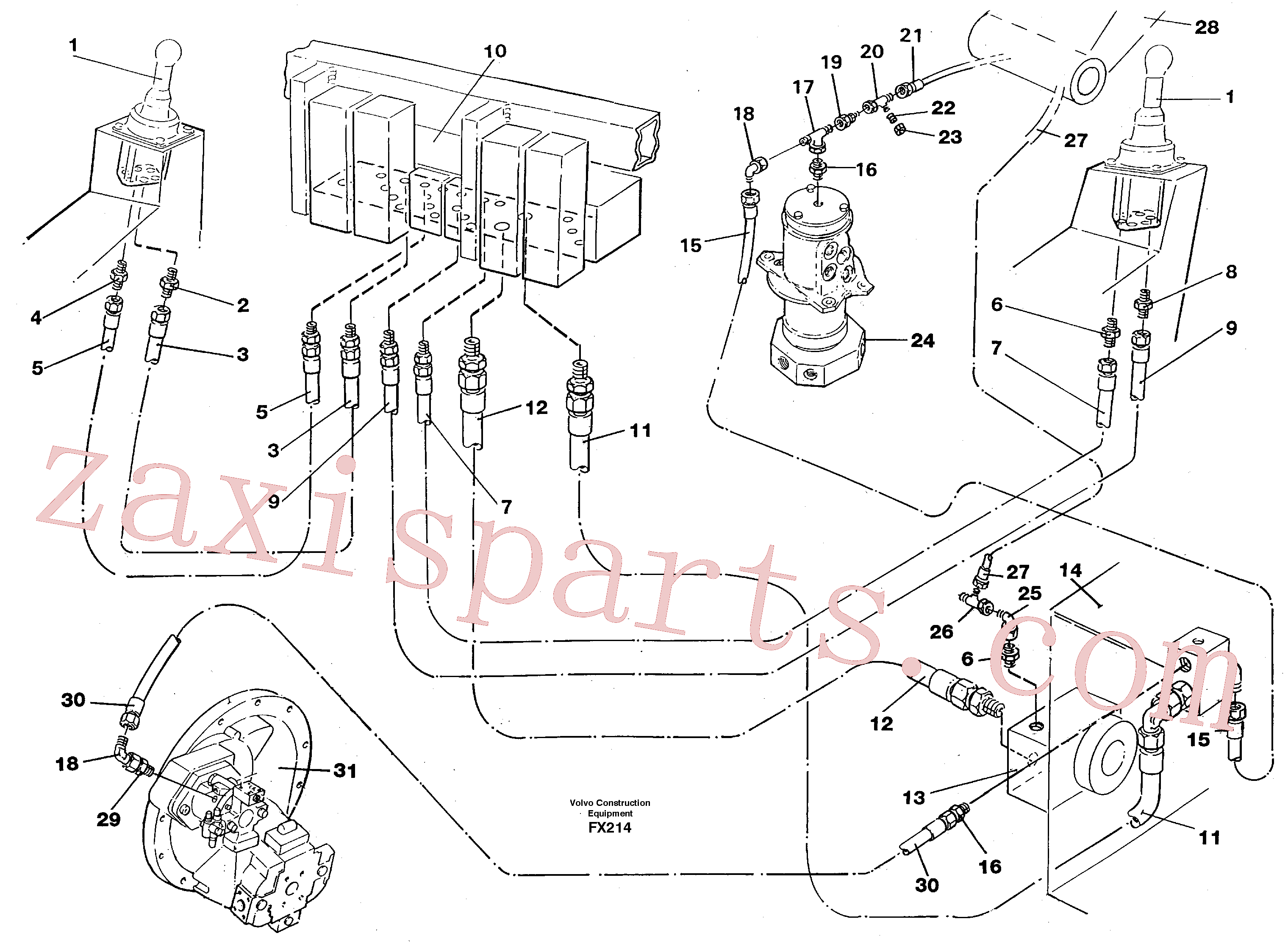 VOE14213275 for Volvo Servo hydrulics return line tank(FX214 assembly)