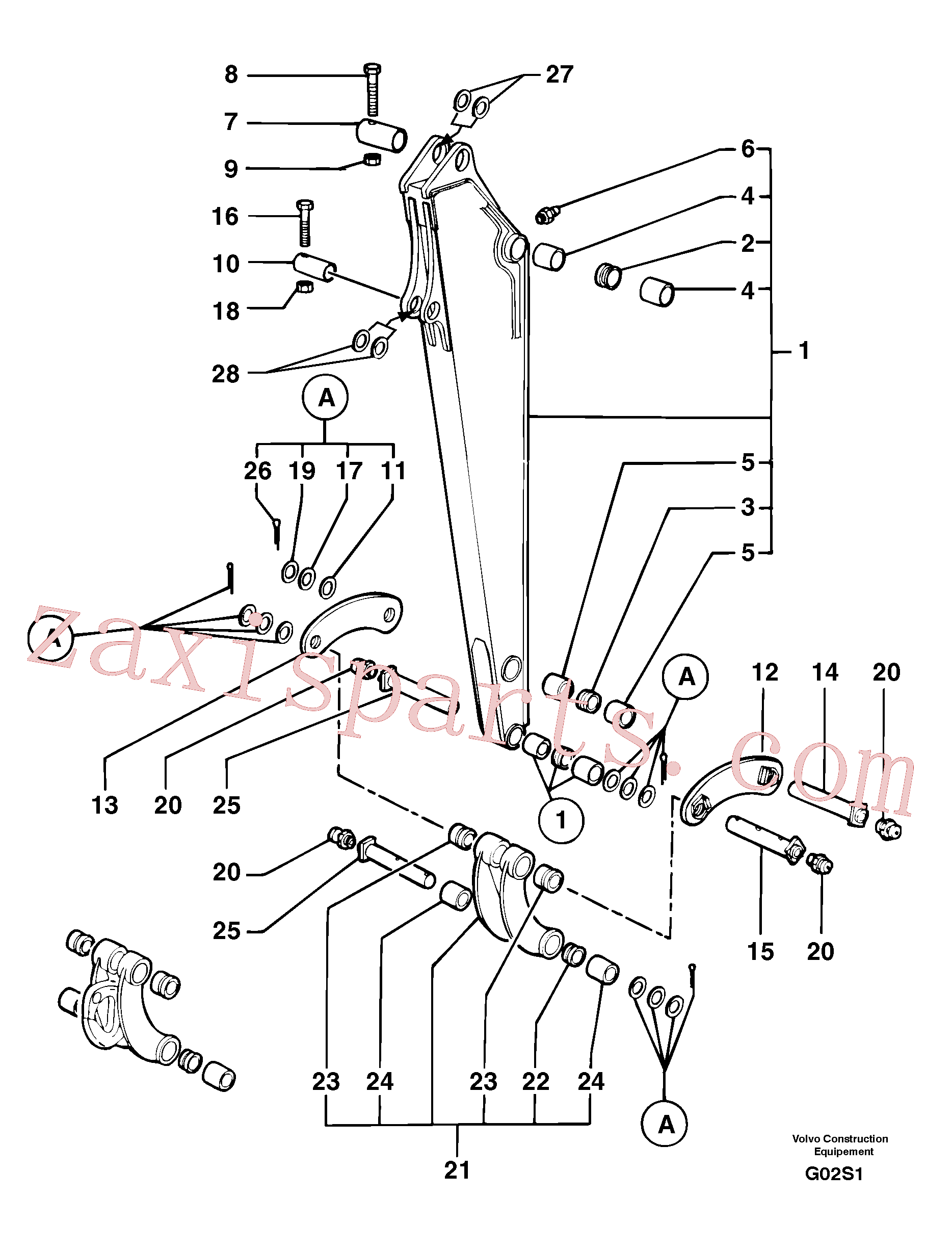 PJ5460189 for Volvo Dipper arm(G02S1 assembly)