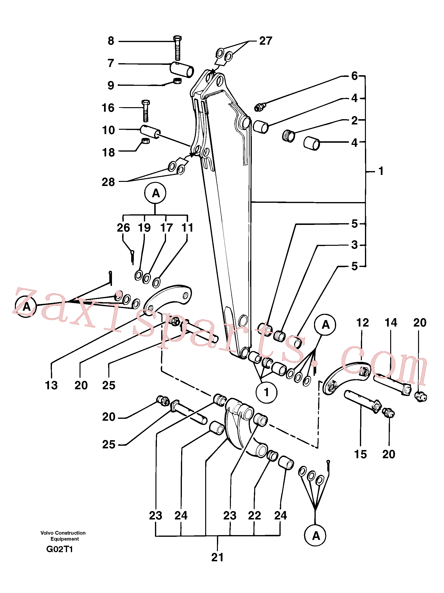 PJ5460189 for Volvo Dipper arm(G02T1 assembly)