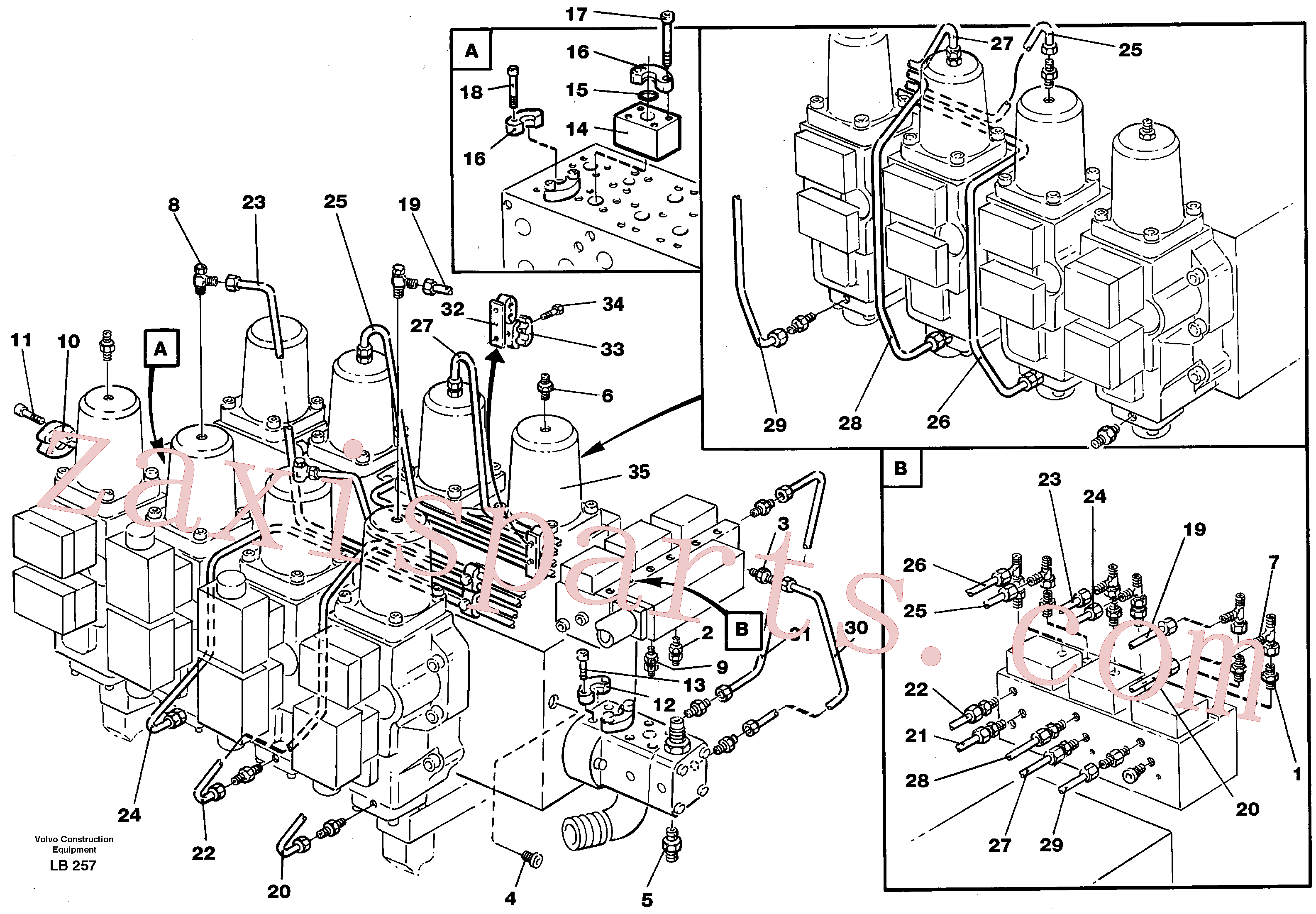 VOE14261299 for Volvo Main valve assembly, tubes connections(LB257 assembly)