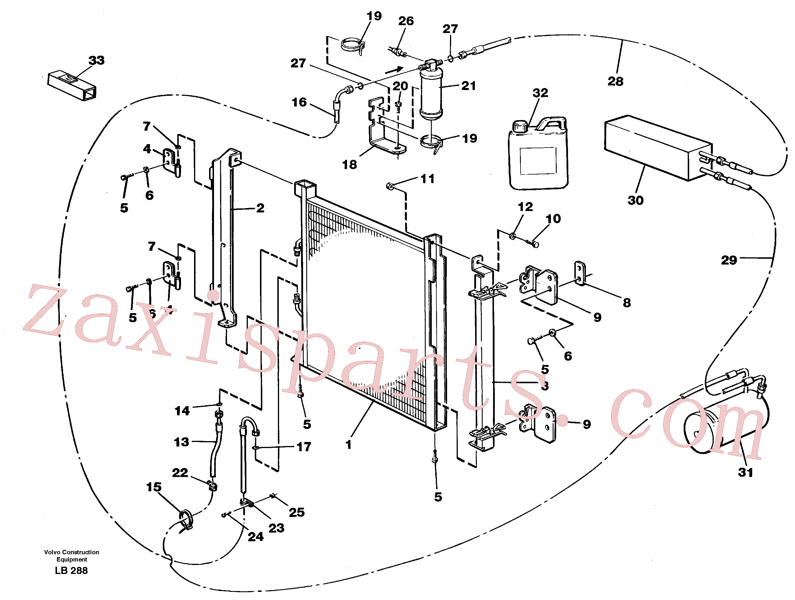 VOE3522589 for Volvo Condensor with fitting parts, cooling agent R134a(LB288 assembly)