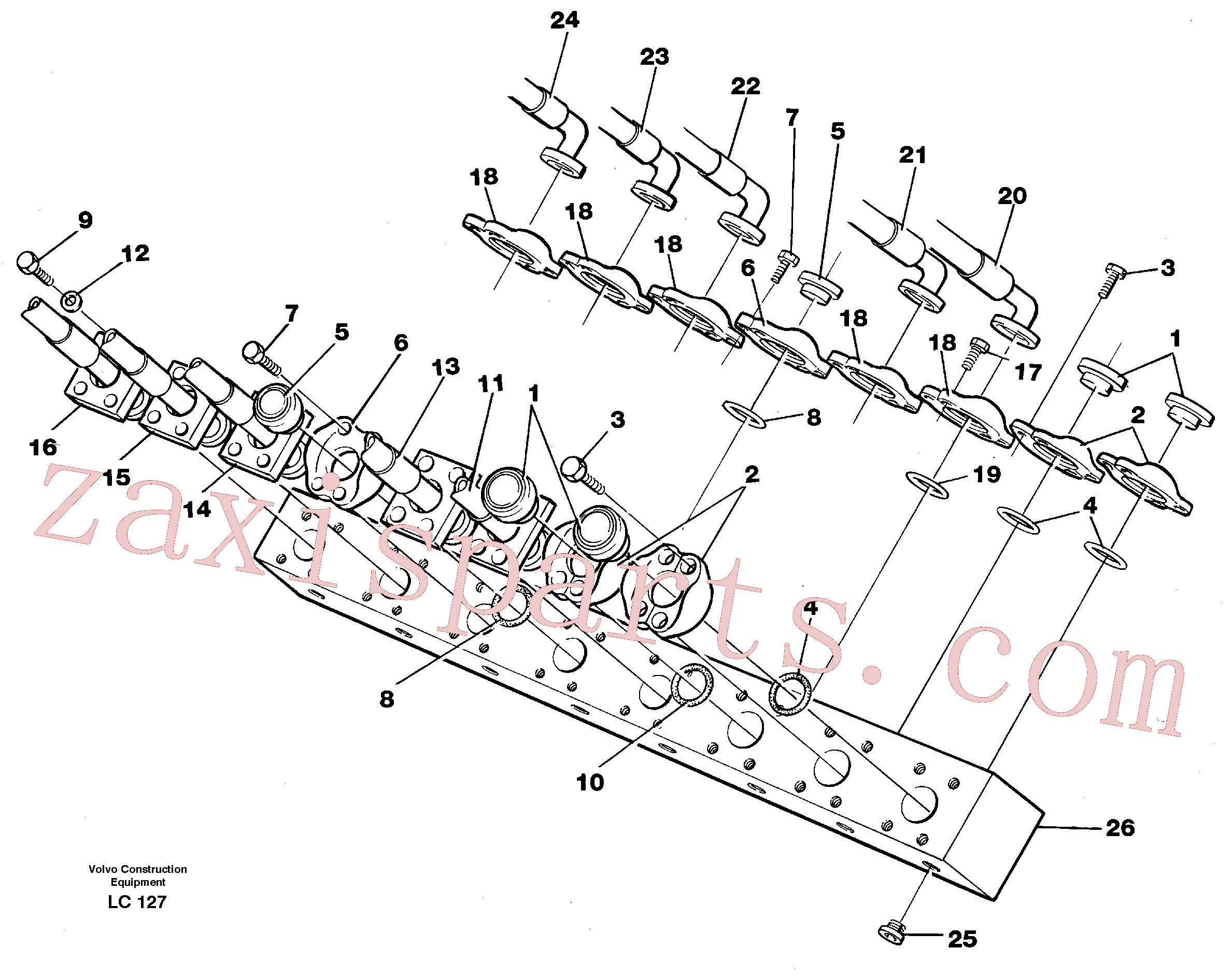 VOE14265516 for Volvo Conneection block with hoses(LC127 assembly)