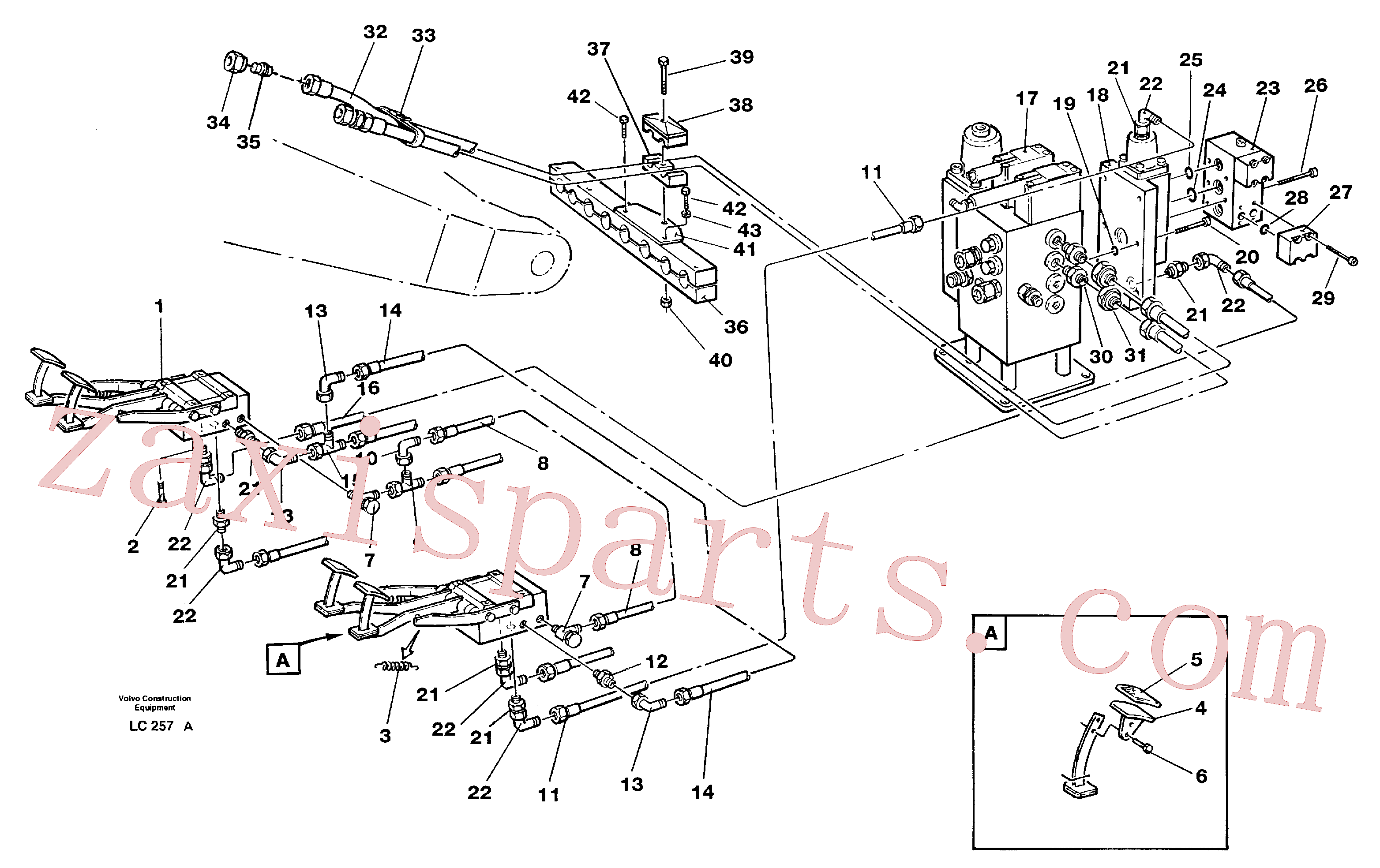 VOE14263613 for Volvo Pedal operated slope bucket hydraulics in base machine(LC257A assembly)