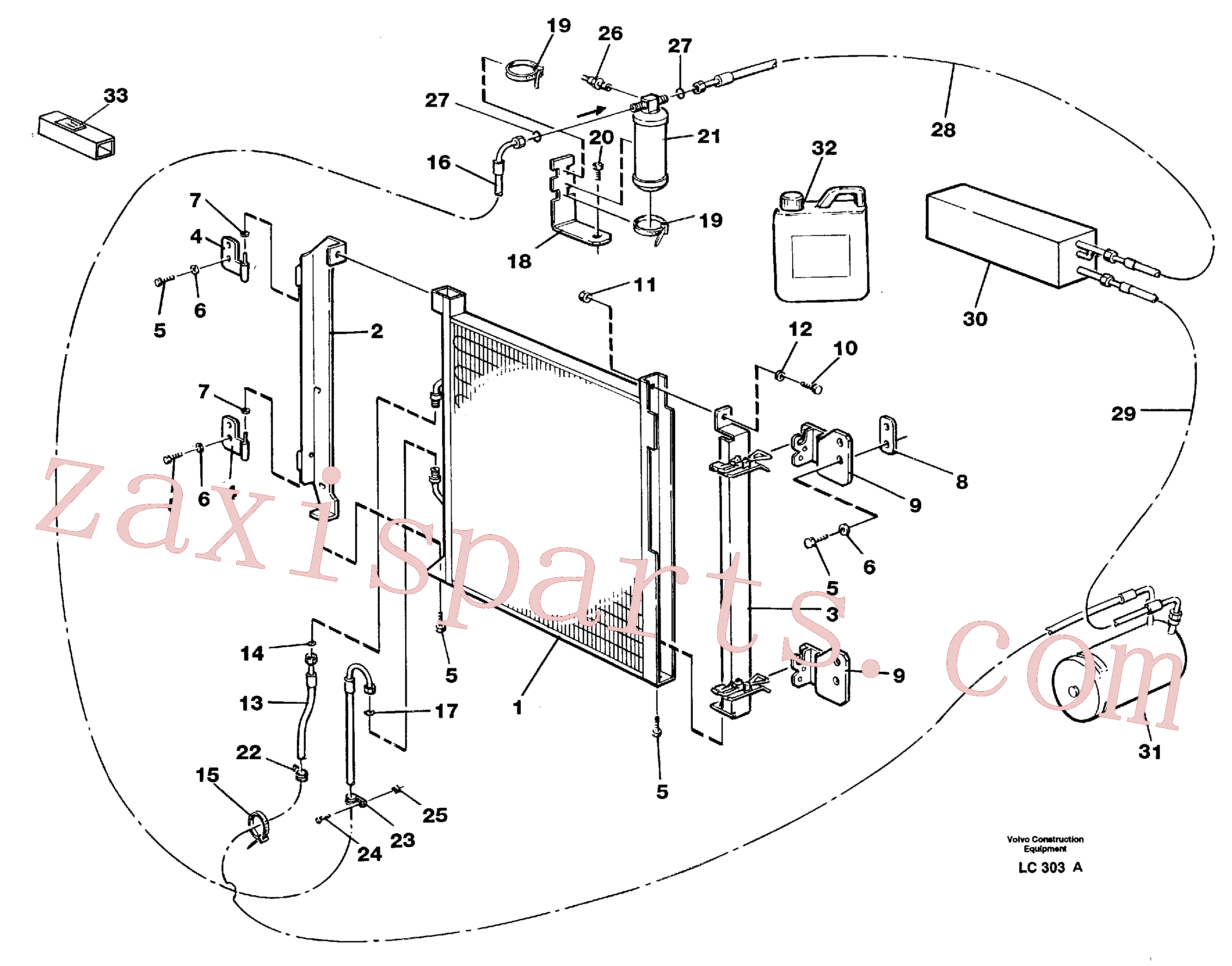 VOE3522589 for Volvo Condensor with fitting parts, cooling agent R134a(LC303A assembly)