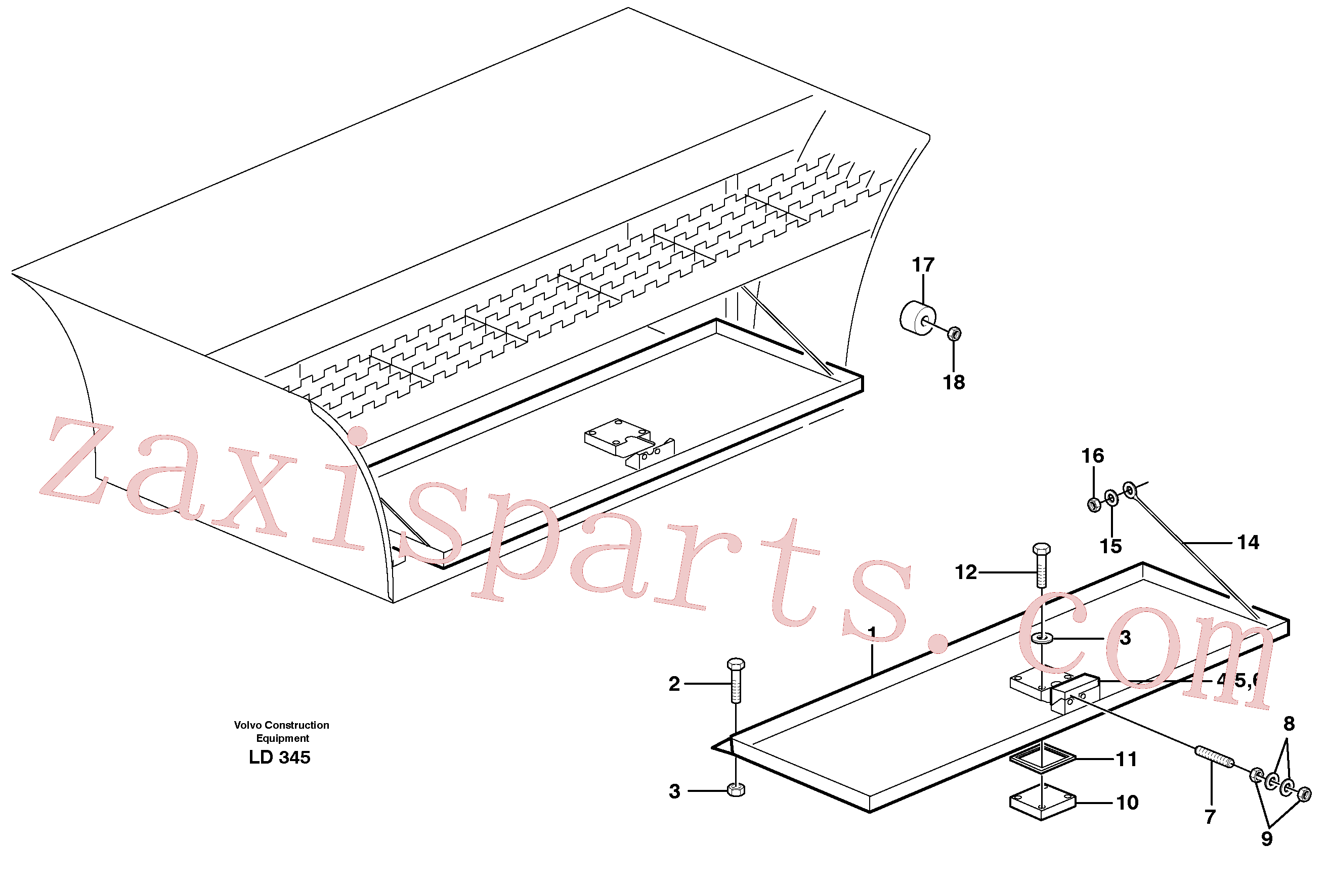 VOE971081 for Volvo Tool box(LD345 assembly)