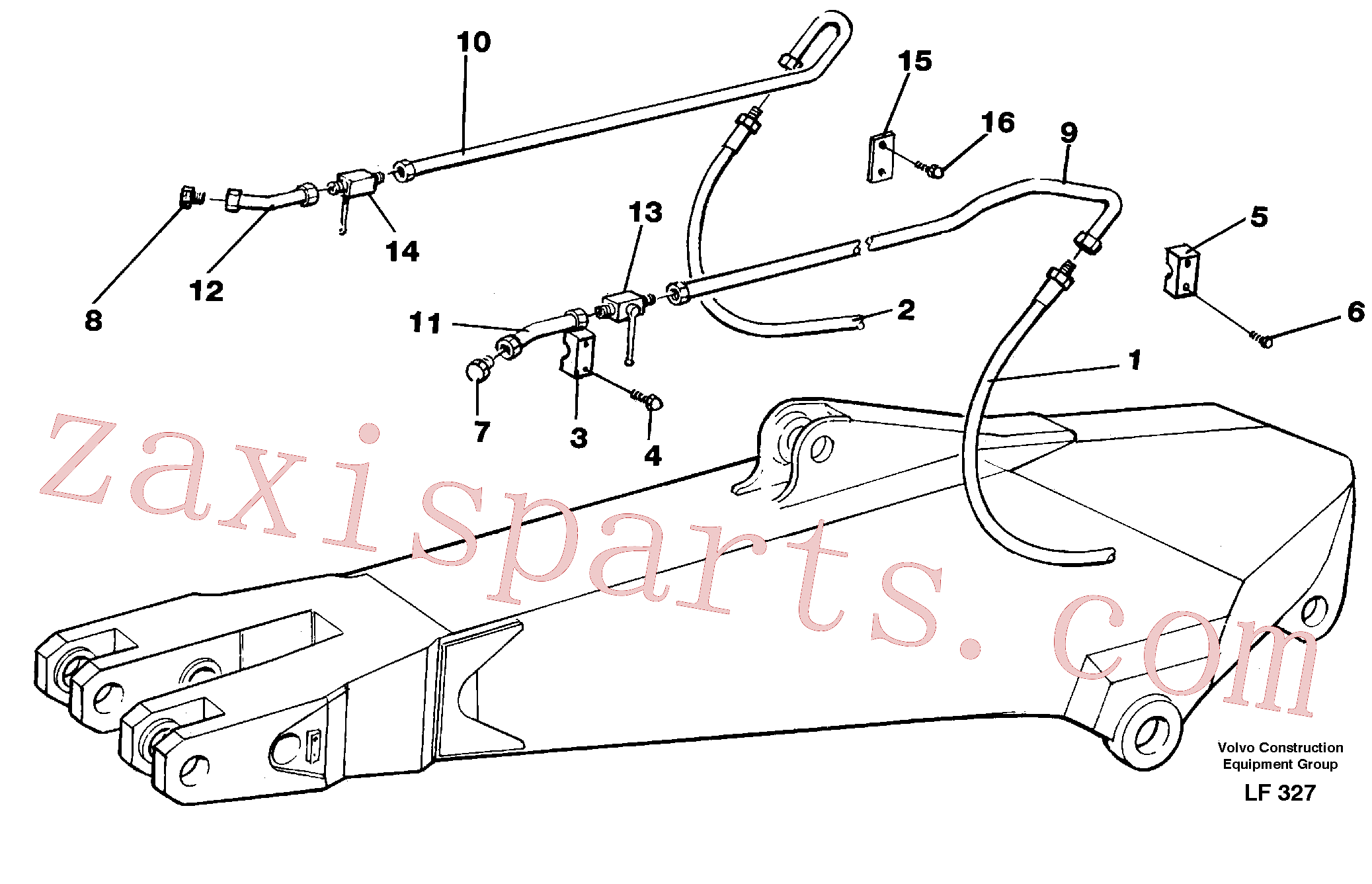 VOE14263478 for Volvo Hammer hydraulics for dipper arm incl. shut-offcocks.(LF327 assembly)
