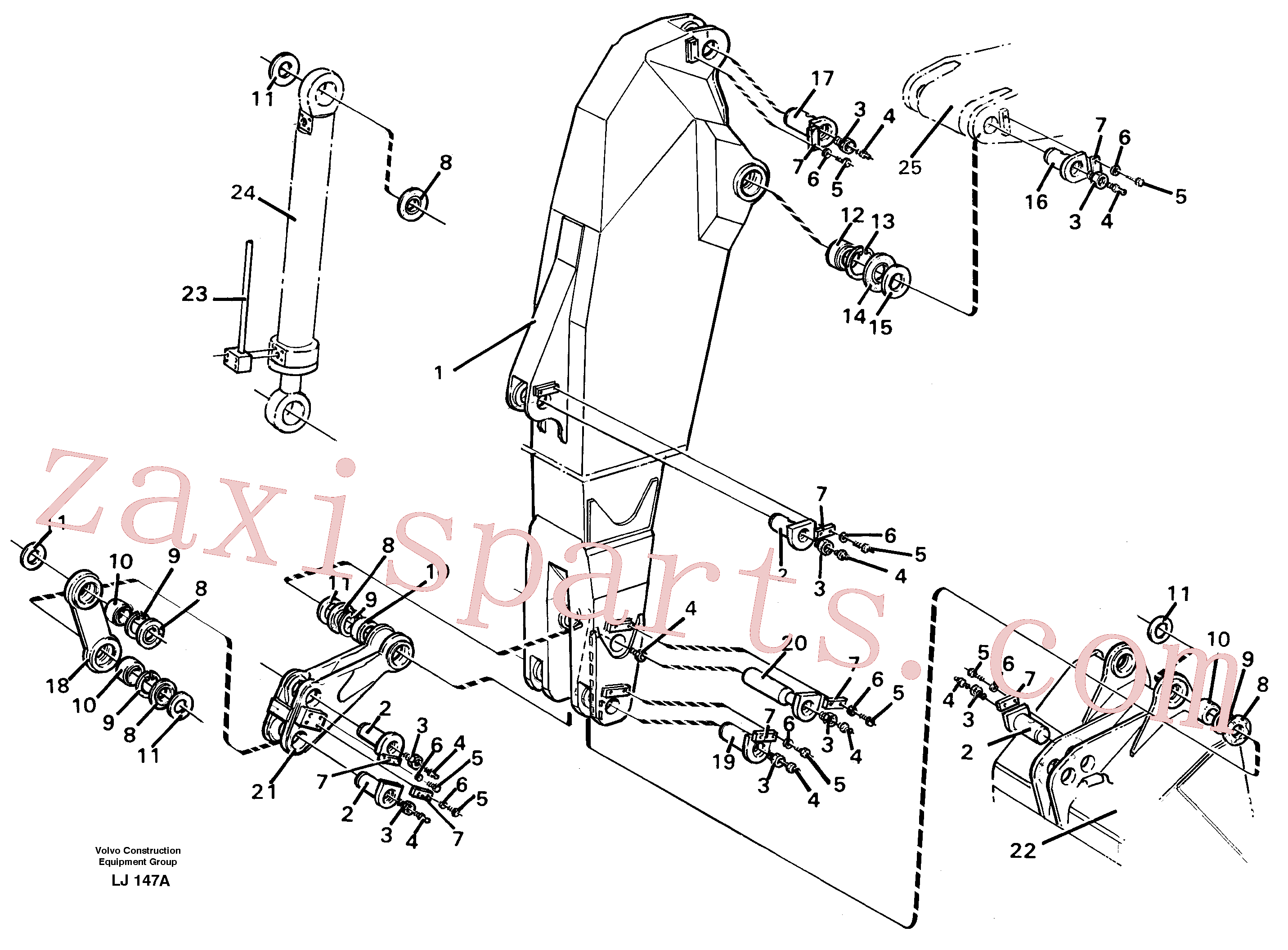 VOE14042998 for Volvo Backhoe dipper arm 2.80m(LJ147A assembly)