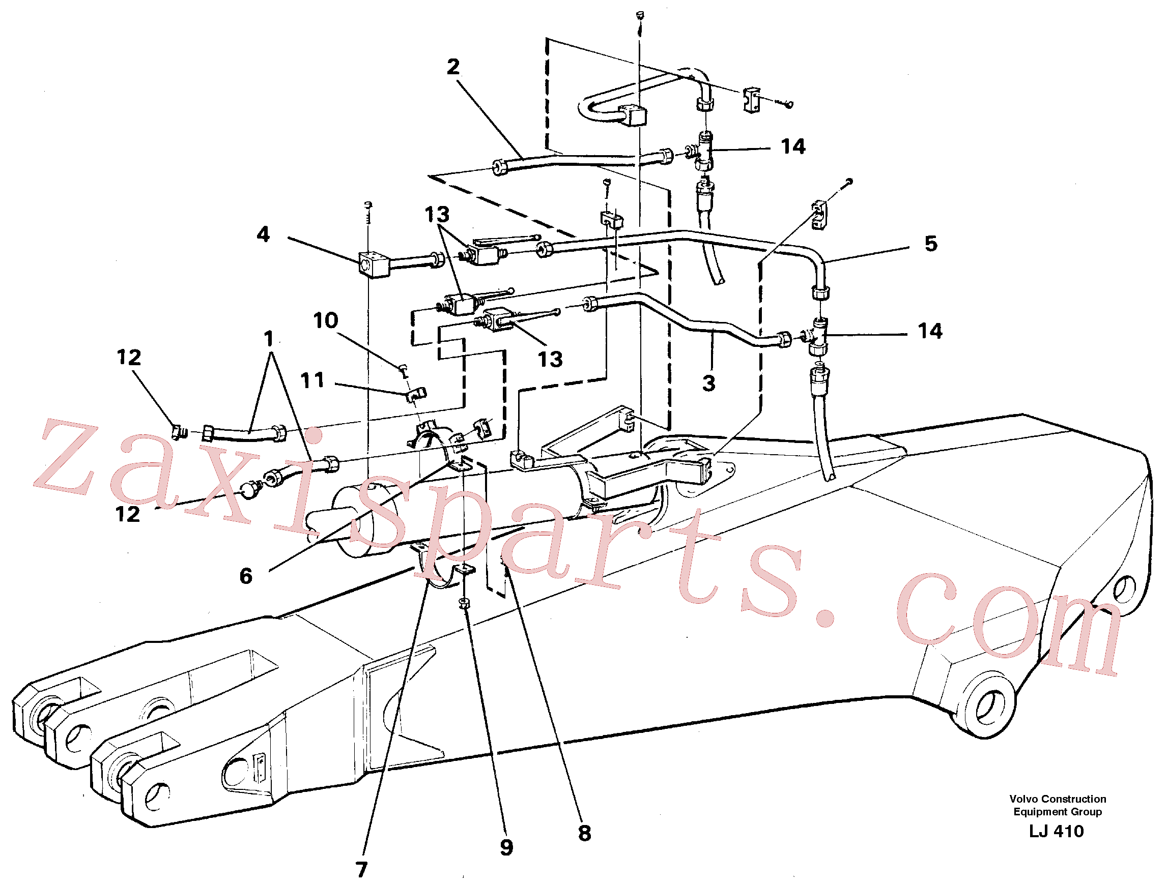 VOE14249975 for Volvo Parallel connected grab hydraulics incl. shut-offcocks on dipper arms.(LJ410 assembly)