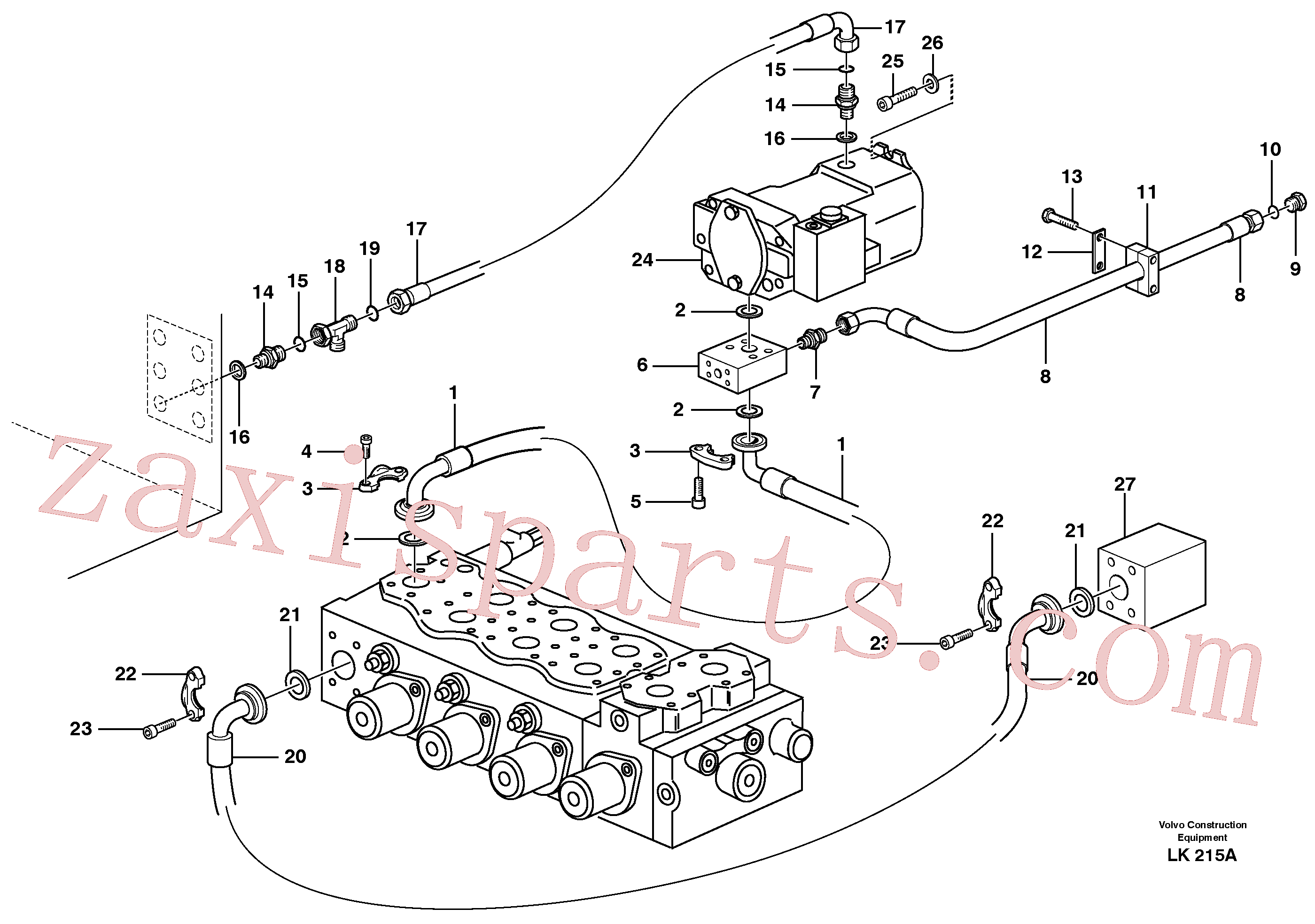 VOE14378764 for Volvo Hydraulic system, feed line(LK215A assembly)