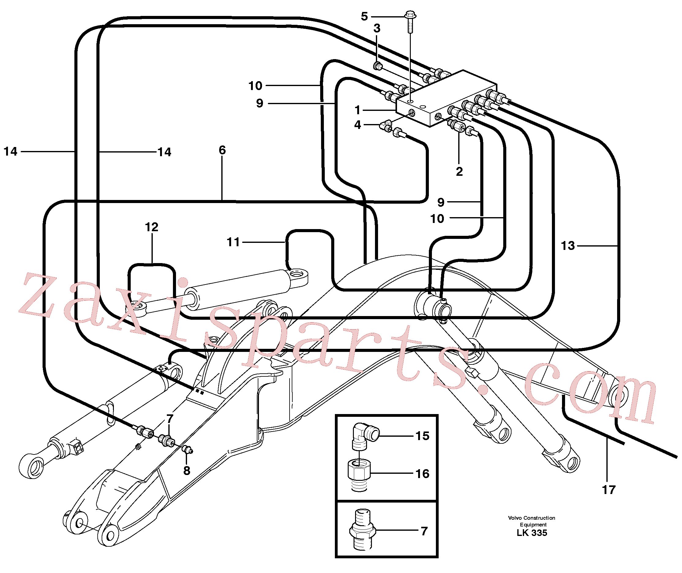 VOE11707684 for Volvo Central lubrication, boom, offset(LK335 assembly)