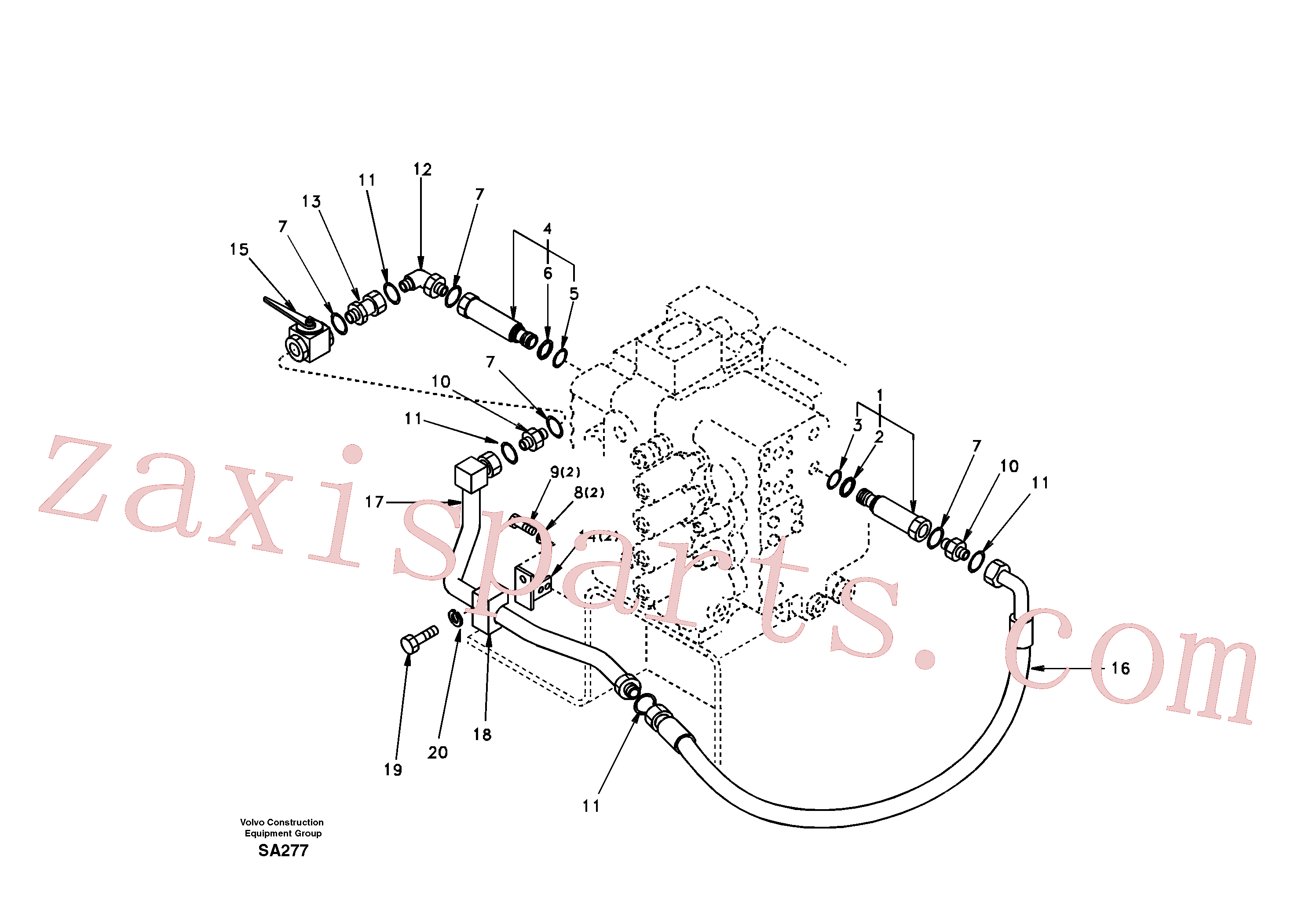 SA9372-42835 for Volvo Working hydraulic, hammer and shear for 2nd pump flow(SA277 assembly)
