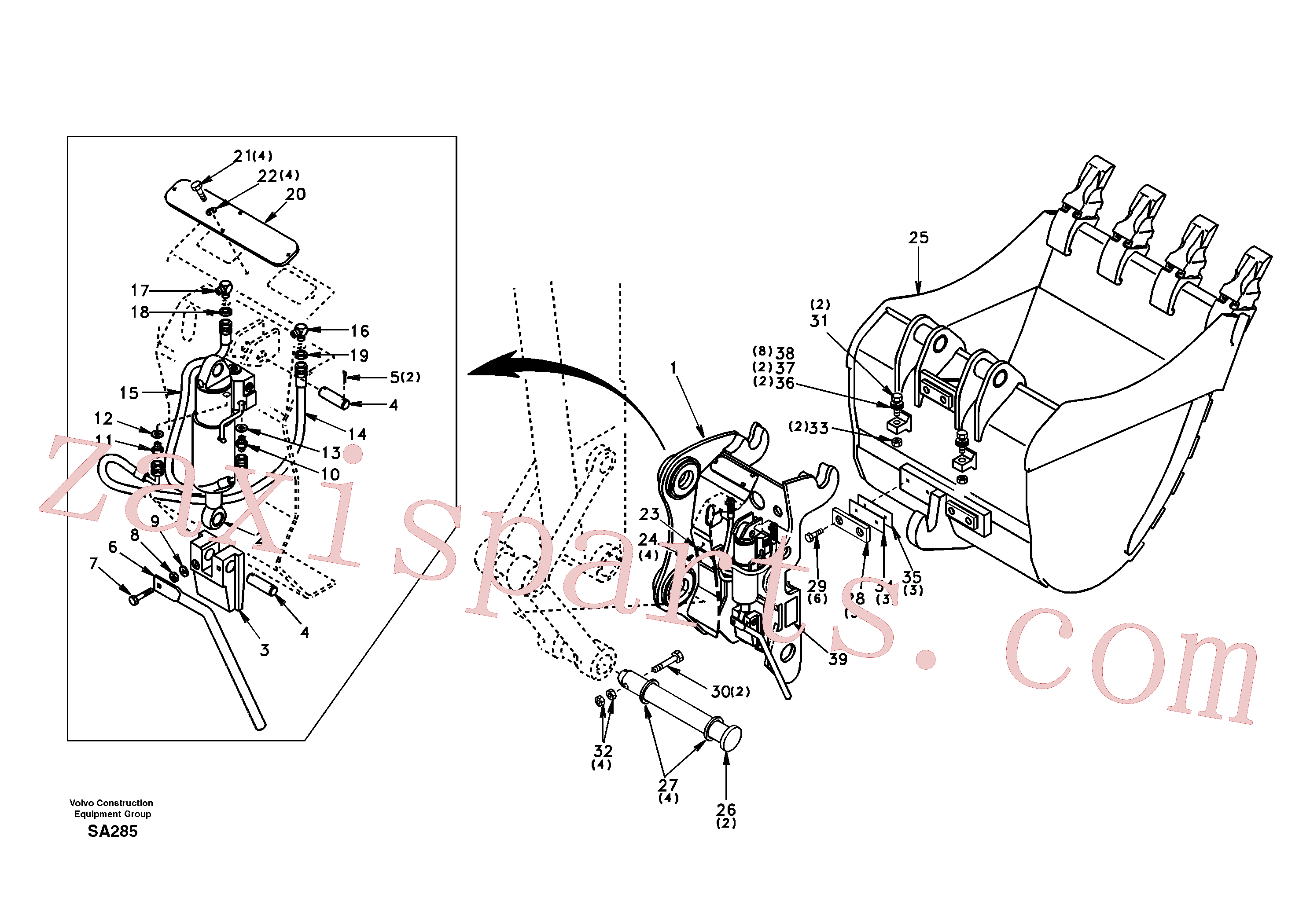 SA14880004 for Volvo Attachment bracket, quickfit(SA285 assembly)