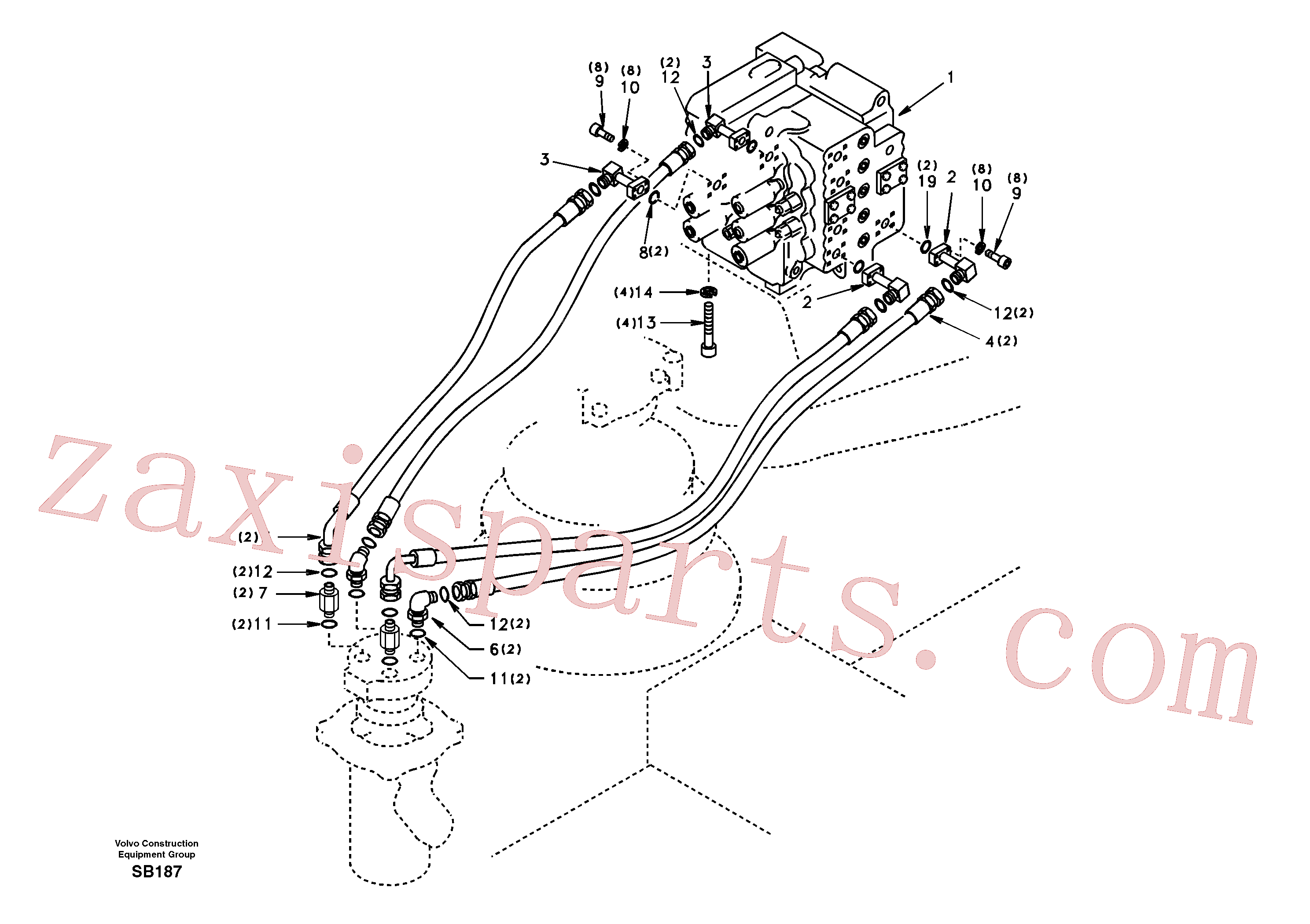 VOE936370 for Volvo Turning joint line, control valve to turning joint(SB187 assembly)