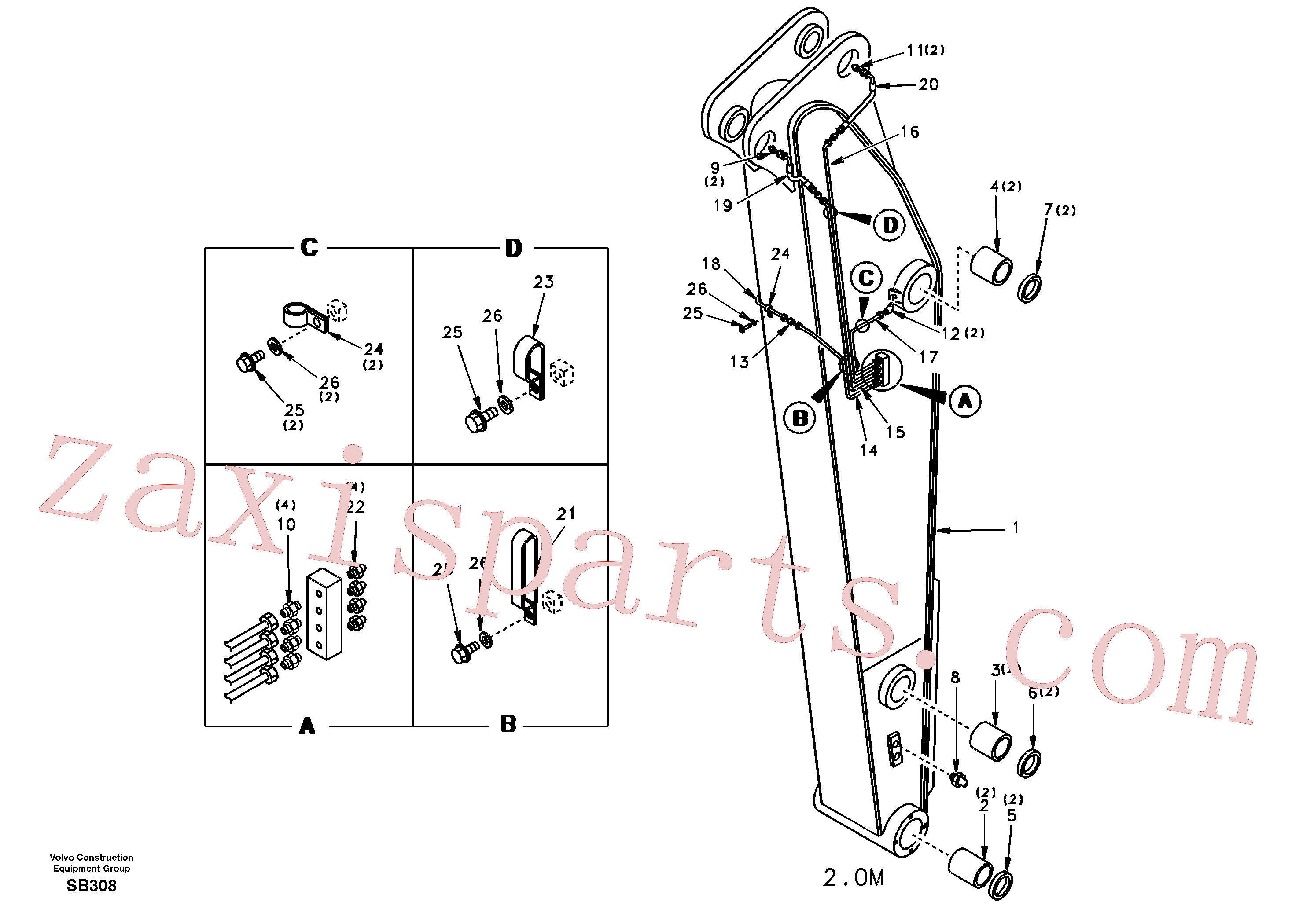SA1172-07891 for Volvo Dipper arm and grease piping without piping seat(SB308 assembly)