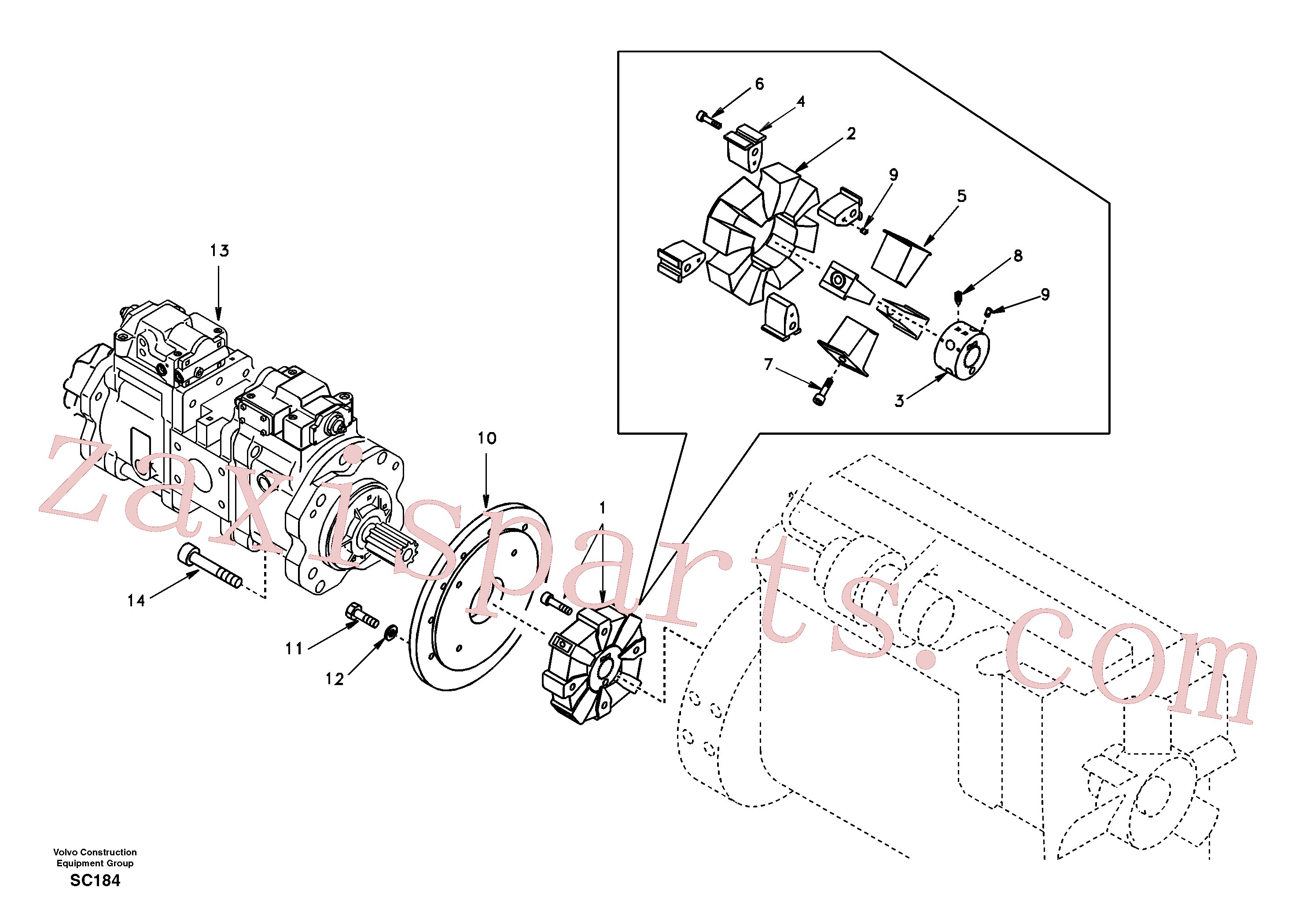SADF046 for Volvo Pump gearbox with assembling parts(SC184 assembly)