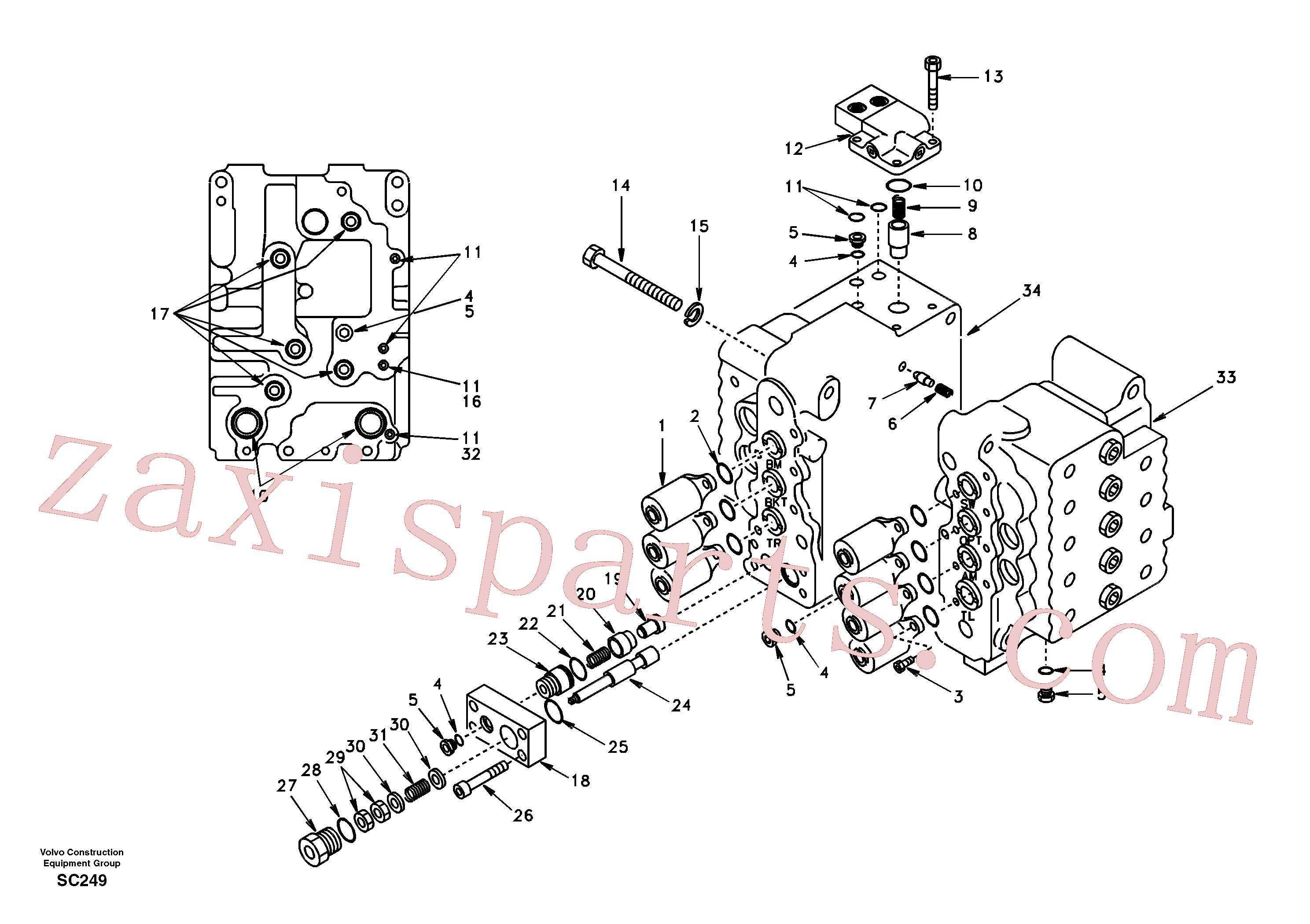 VOE14501630 for Volvo Control valve with fitting parts.(SC249 assembly)