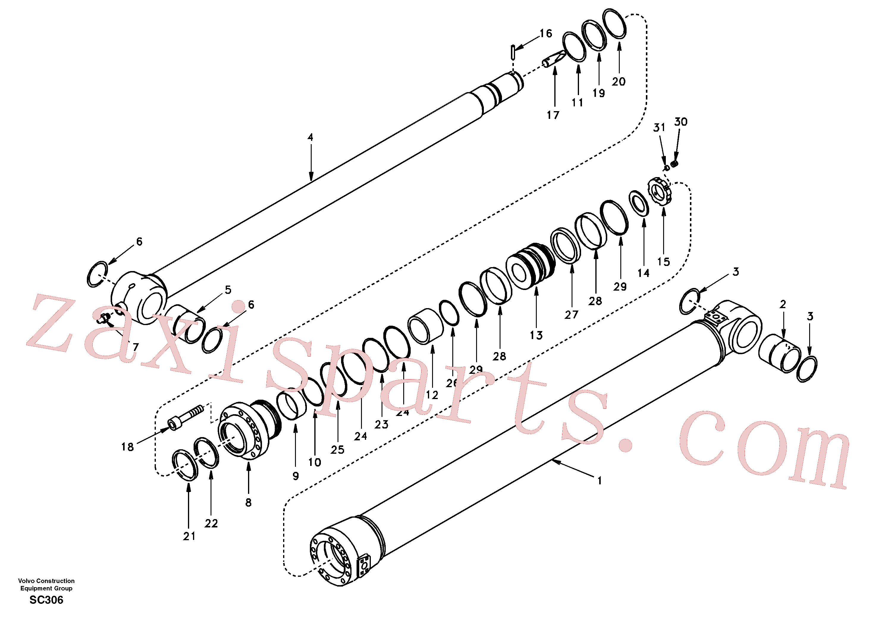 SA8148-11021 for Volvo Dipper arm cylinder(SC306 assembly)