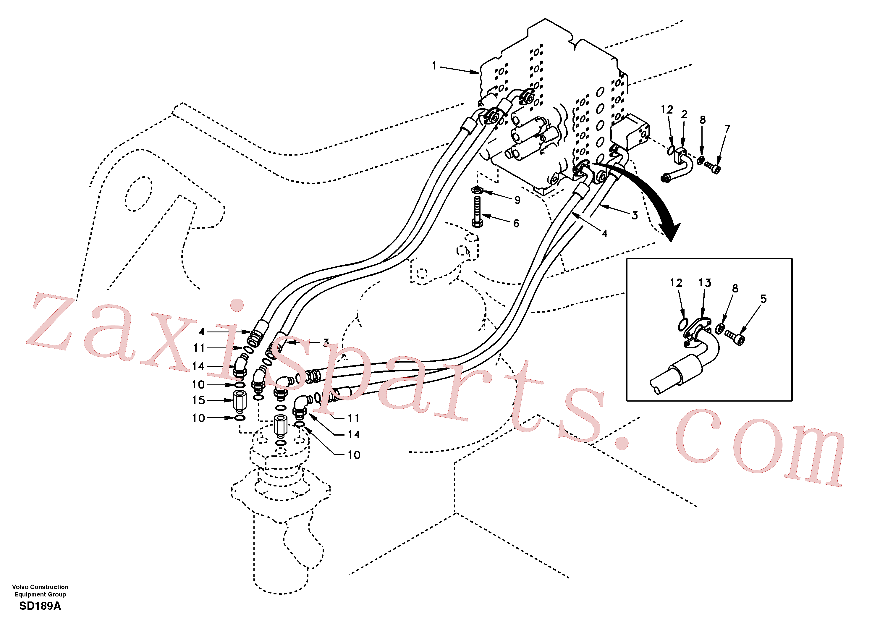 SA9411-96271 for Volvo Turning joint line, control valve to turning joint(SD189A assembly)
