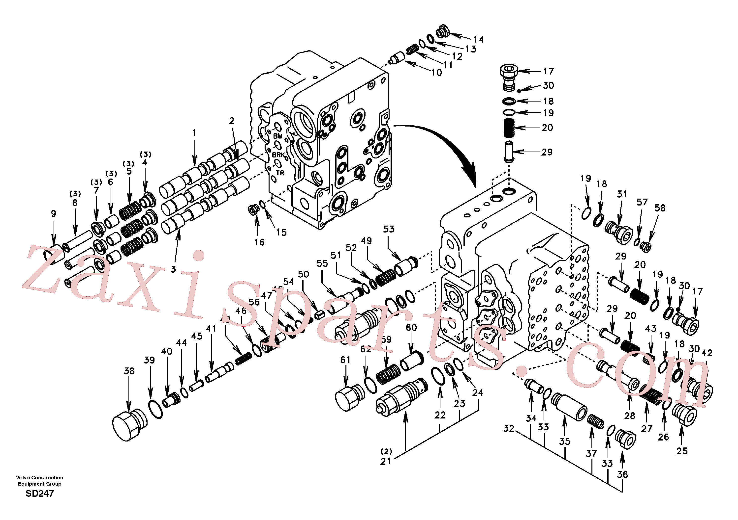 SA8230-12210 for Volvo Main control valve, boom and bucket and travel Rh(SD247 assembly)