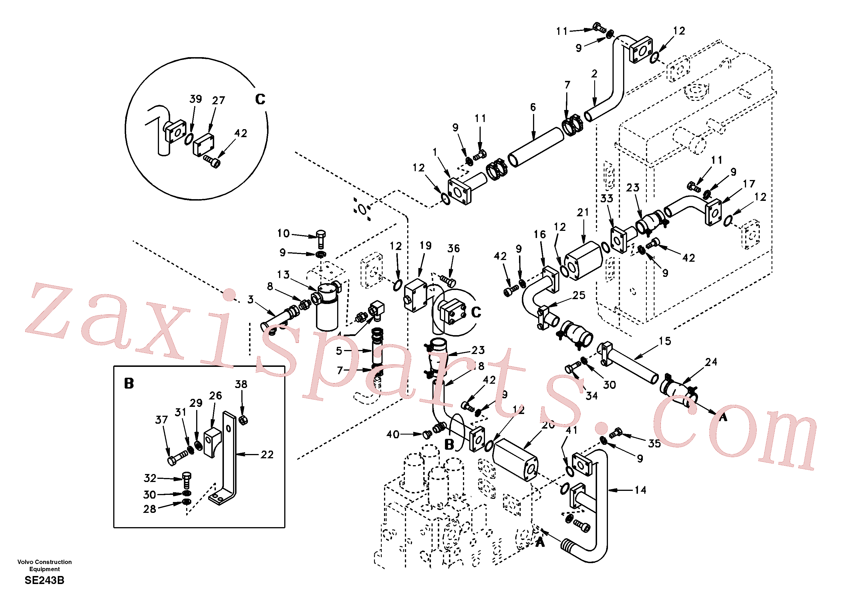 SA9444-06208 for Volvo Hydraulic system, hydraulic tank to hydraulic oil cooler(SE243B assembly)