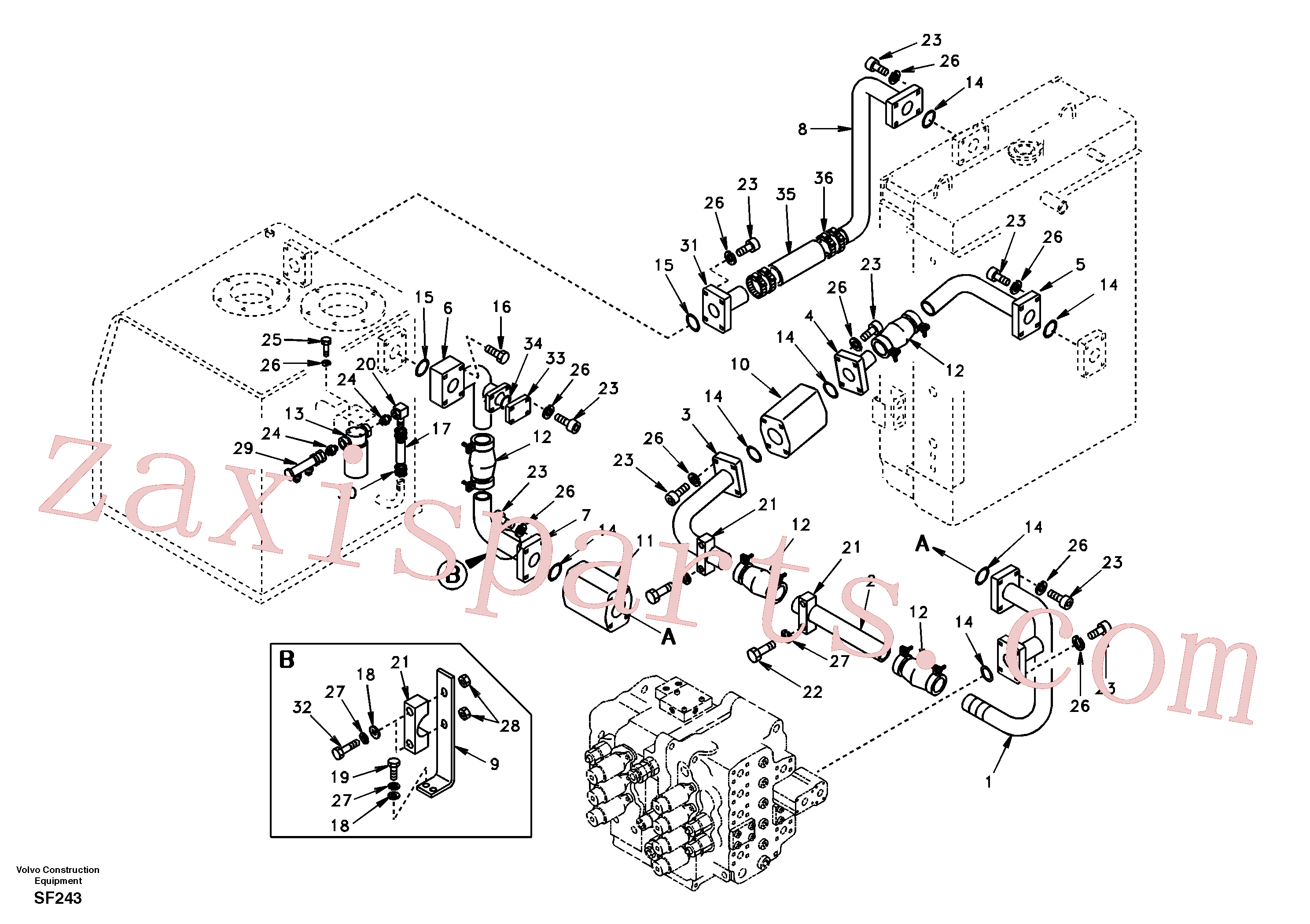 SA9444-06208 for Volvo Hydraulic system, hydraulic tank to hydraulic oil cooler(SF243 assembly)