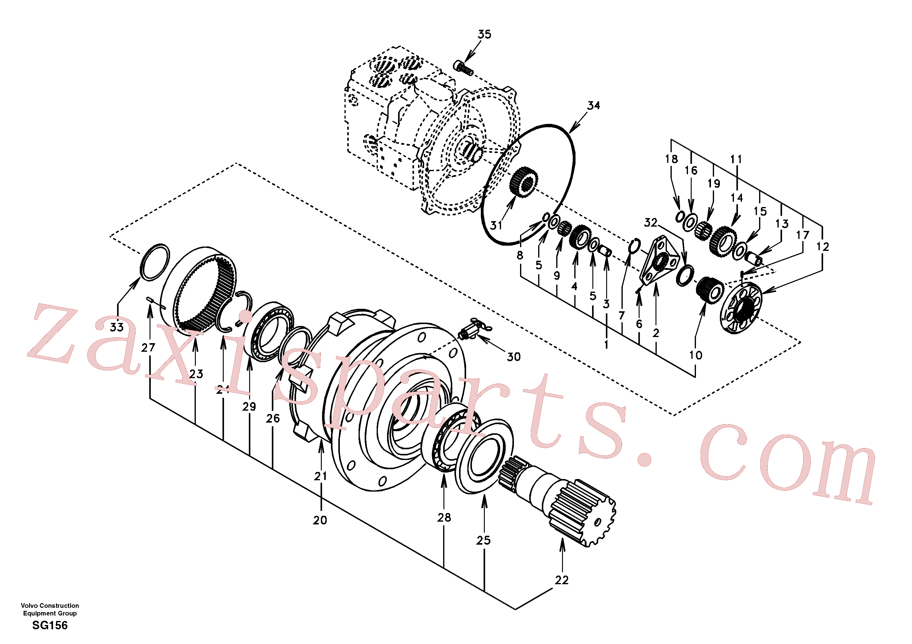 SA14504976 for Volvo Swing gearbox(SG156 assembly)