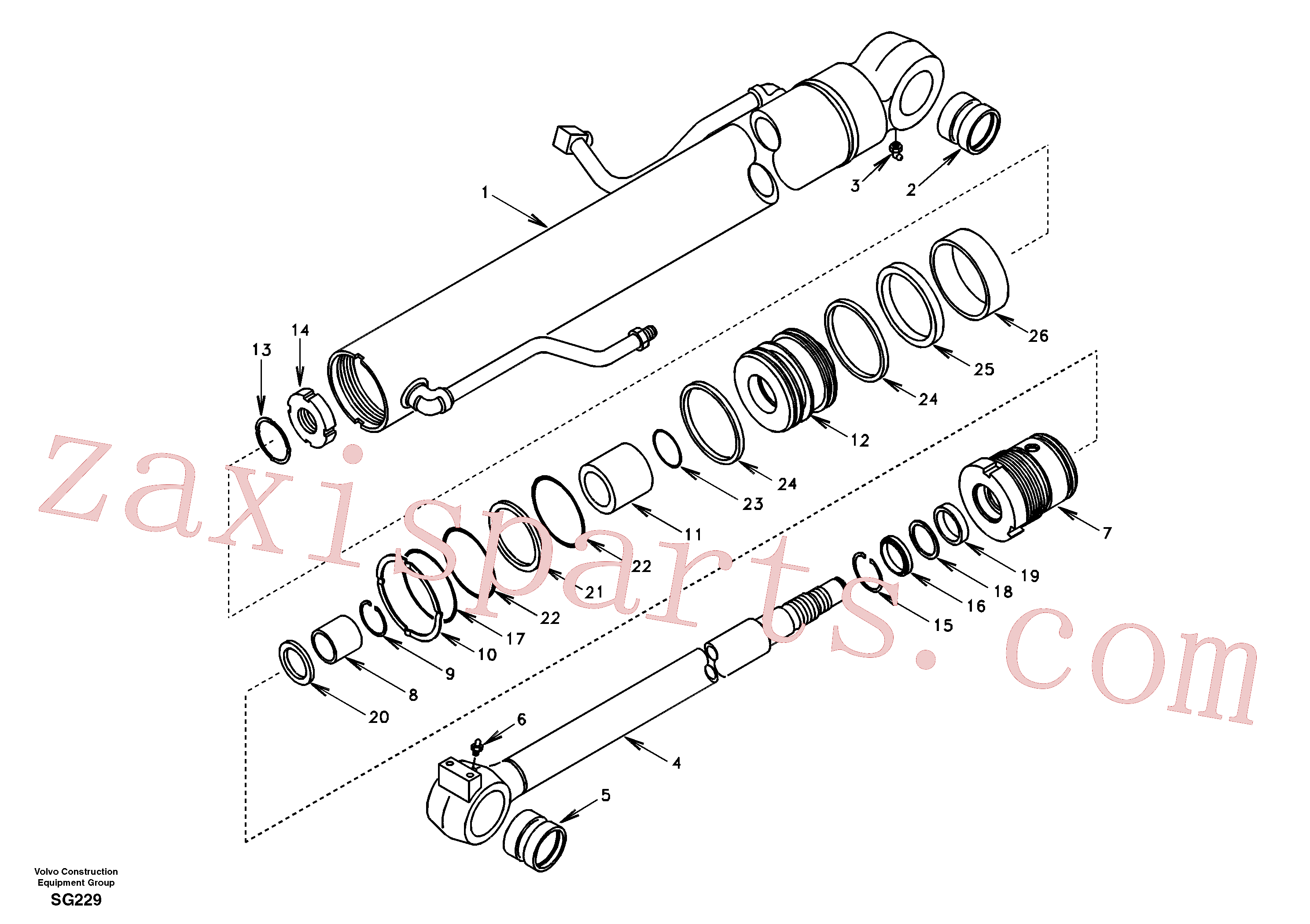 SA9563-20600 for Volvo Boom cylinder(SG229 assembly)