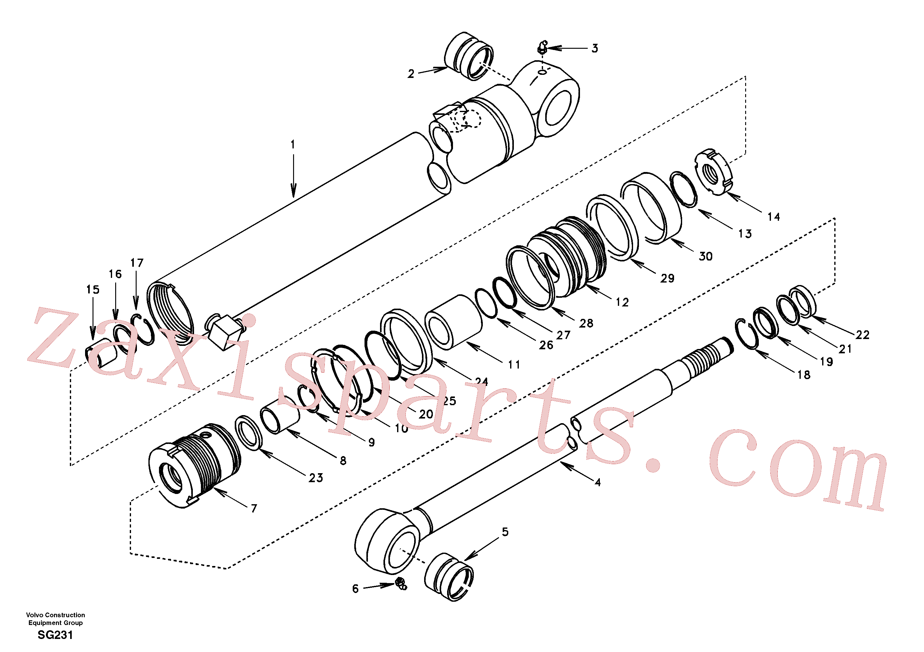 SA9564-20550 for Volvo Dipper arm cylinder(SG231 assembly)