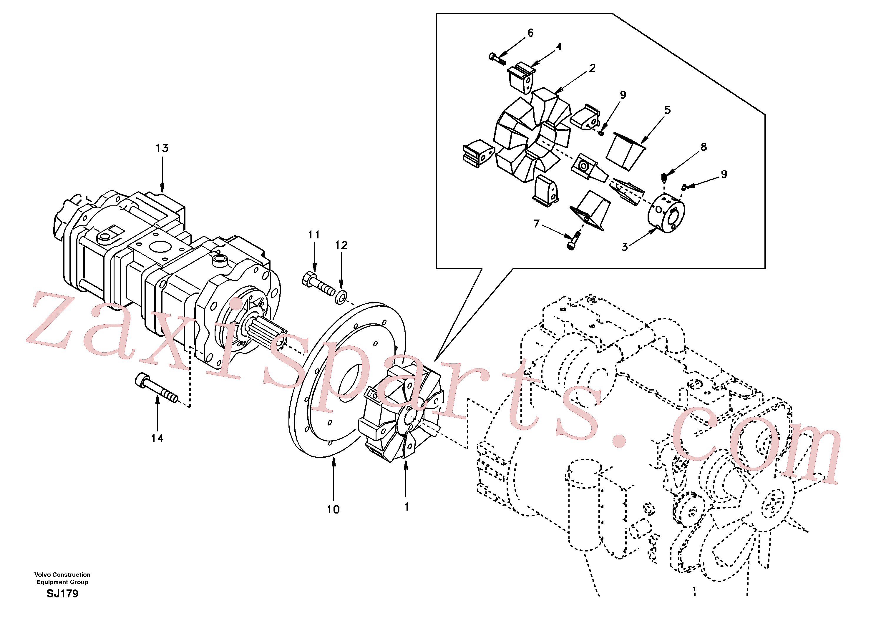 SADF046 for Volvo Pump gearbox with assembling parts(SJ179 assembly)