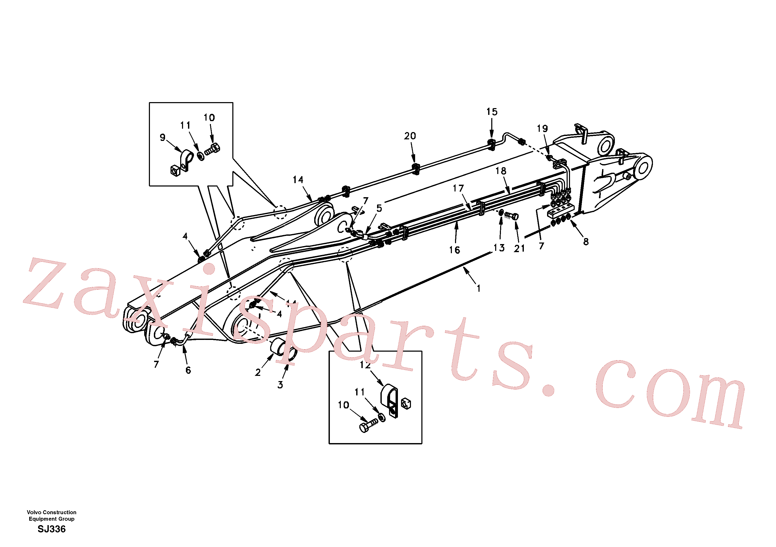 SA1073-00550 for Volvo Boom and grease piping, adjustable 2nd(SJ336 assembly)