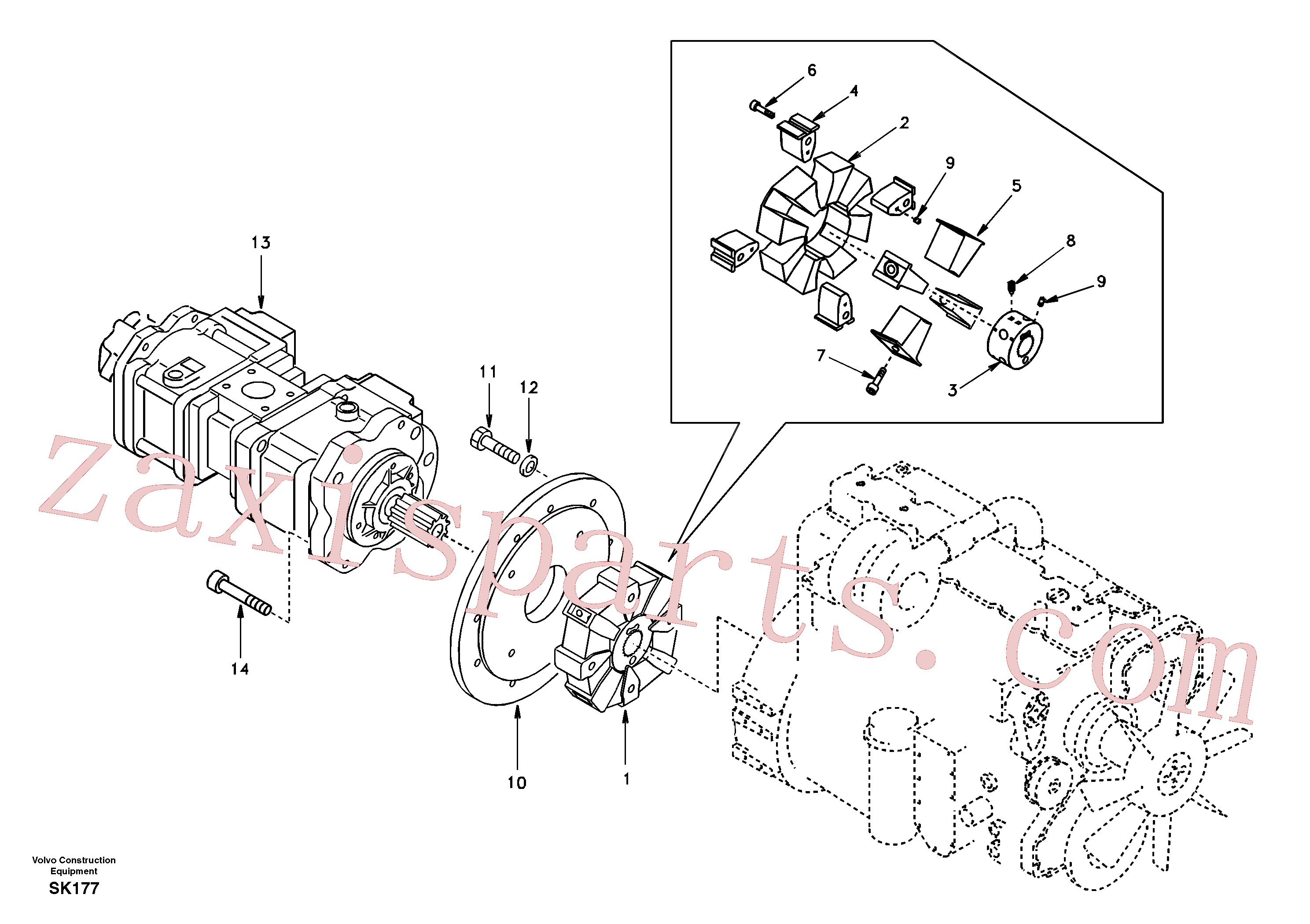 SADF046 for Volvo Pump gearbox with assembling parts(SK177 assembly)
