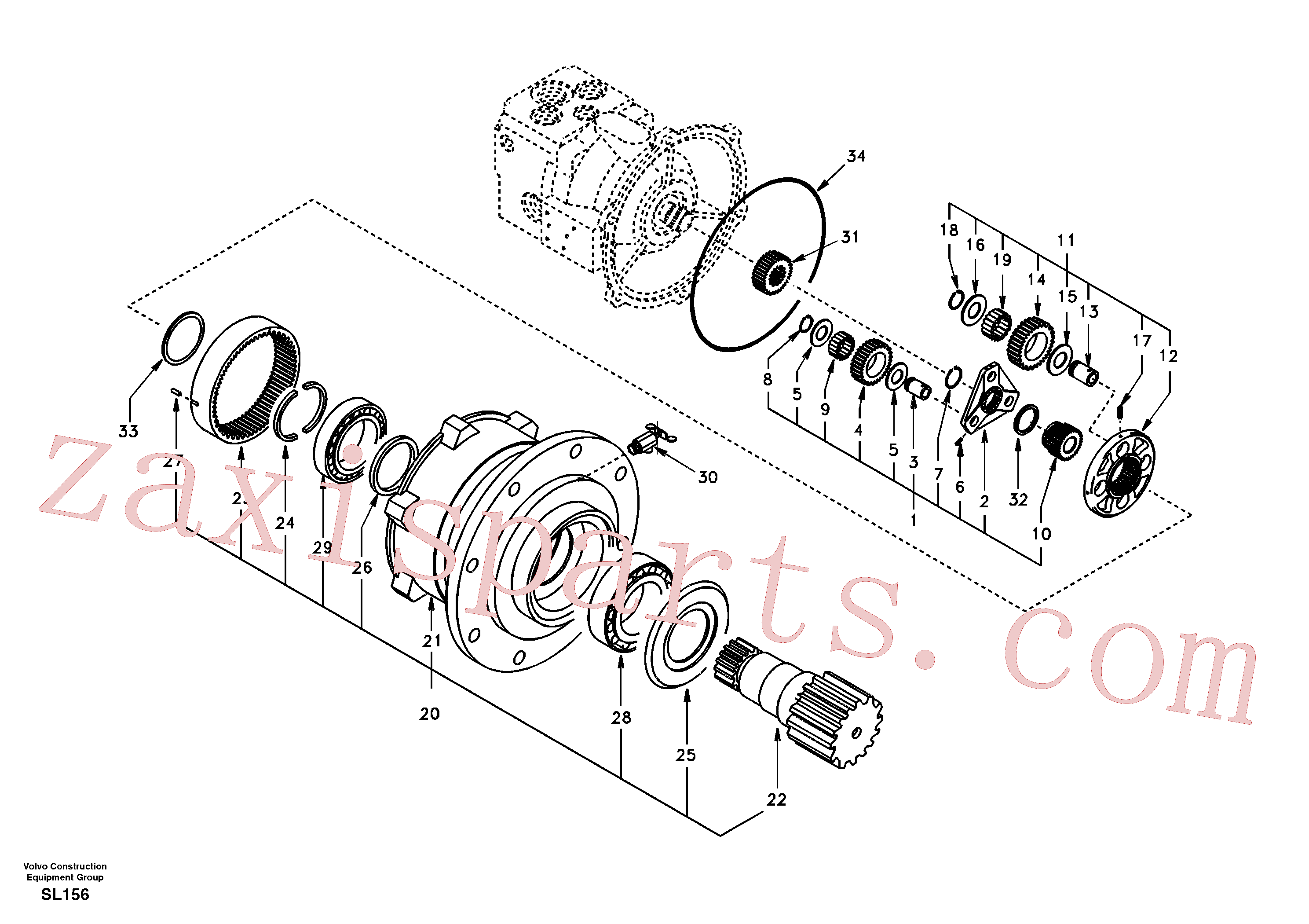 SA14504976 for Volvo Swing gearbox(SL156 assembly)