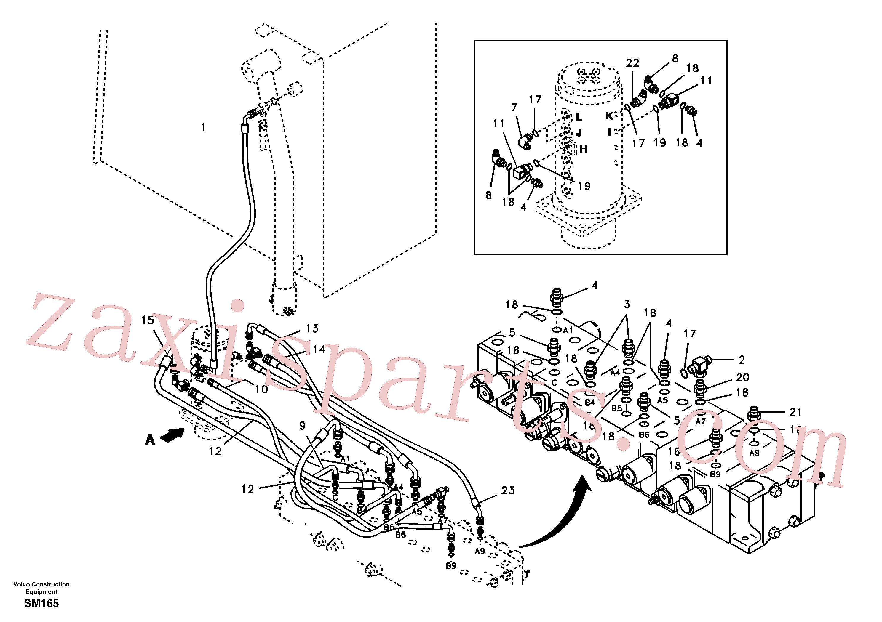 SA9412-11153 for Volvo Turning joint line, control valve to turning joint(SM165 assembly)