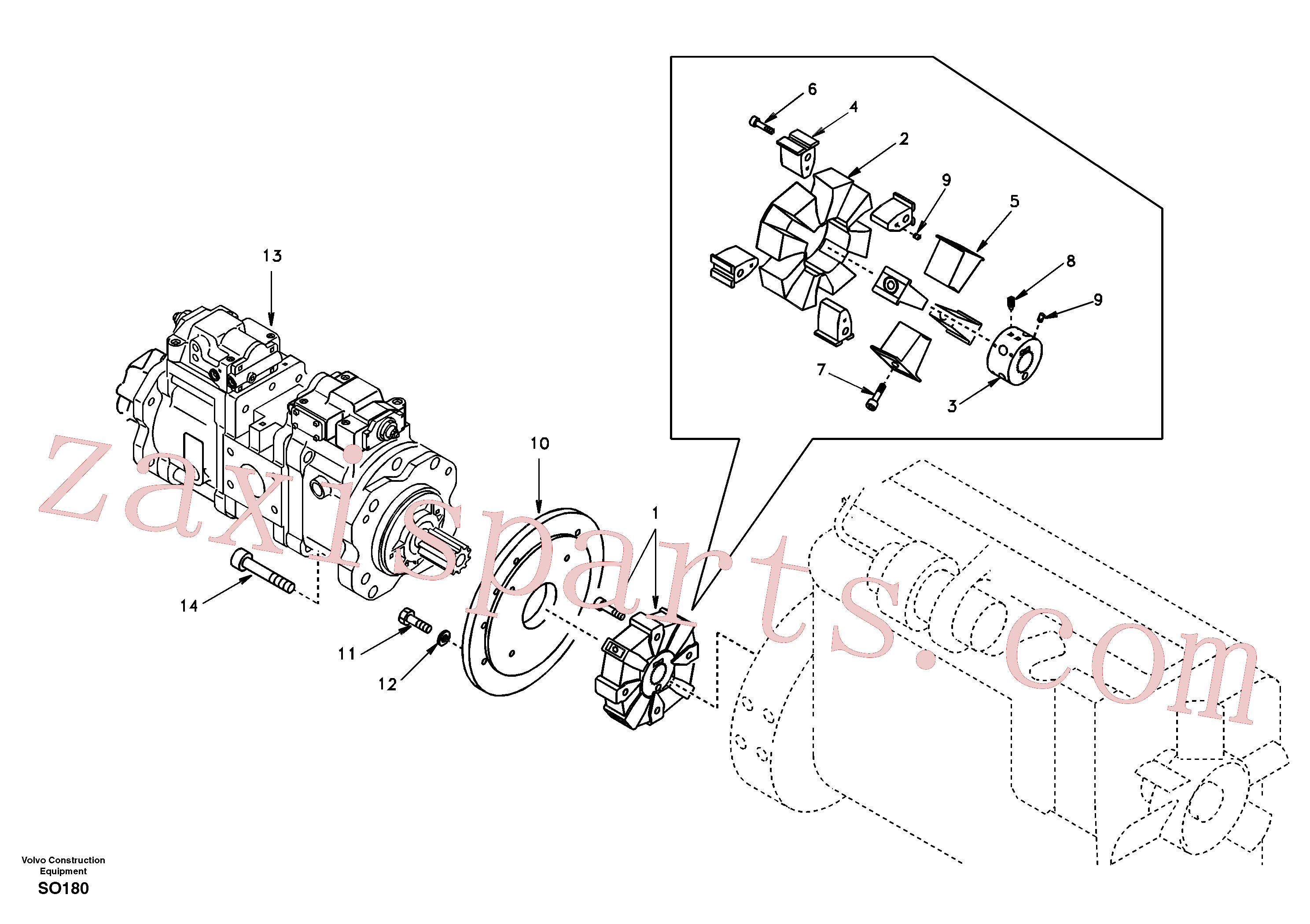 SA14509683 for Volvo Pump gearbox with assembling parts(SO180 assembly)