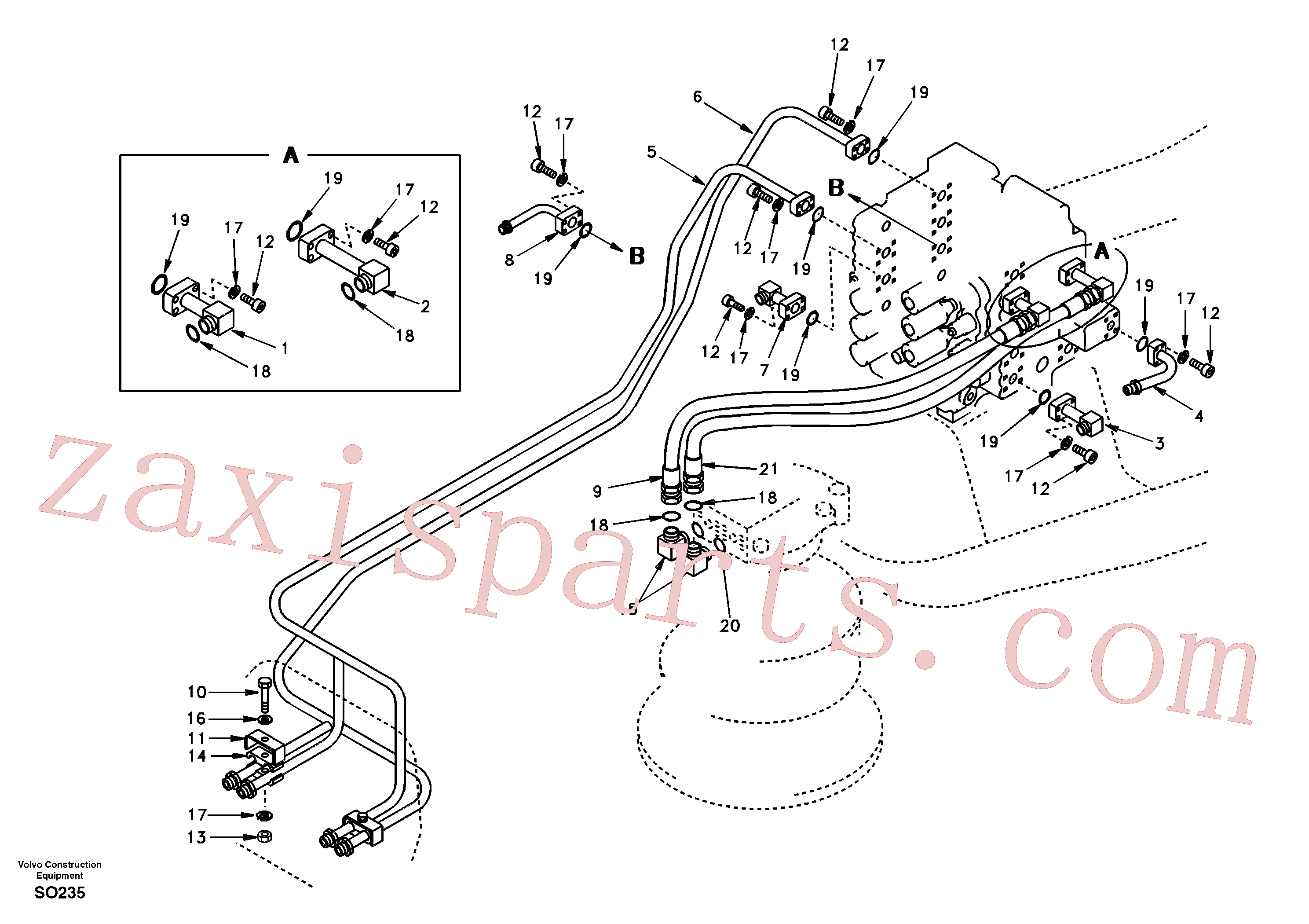 VOE14504734 for Volvo Hydraulic system, control valve to boom and swing(SO235 assembly)