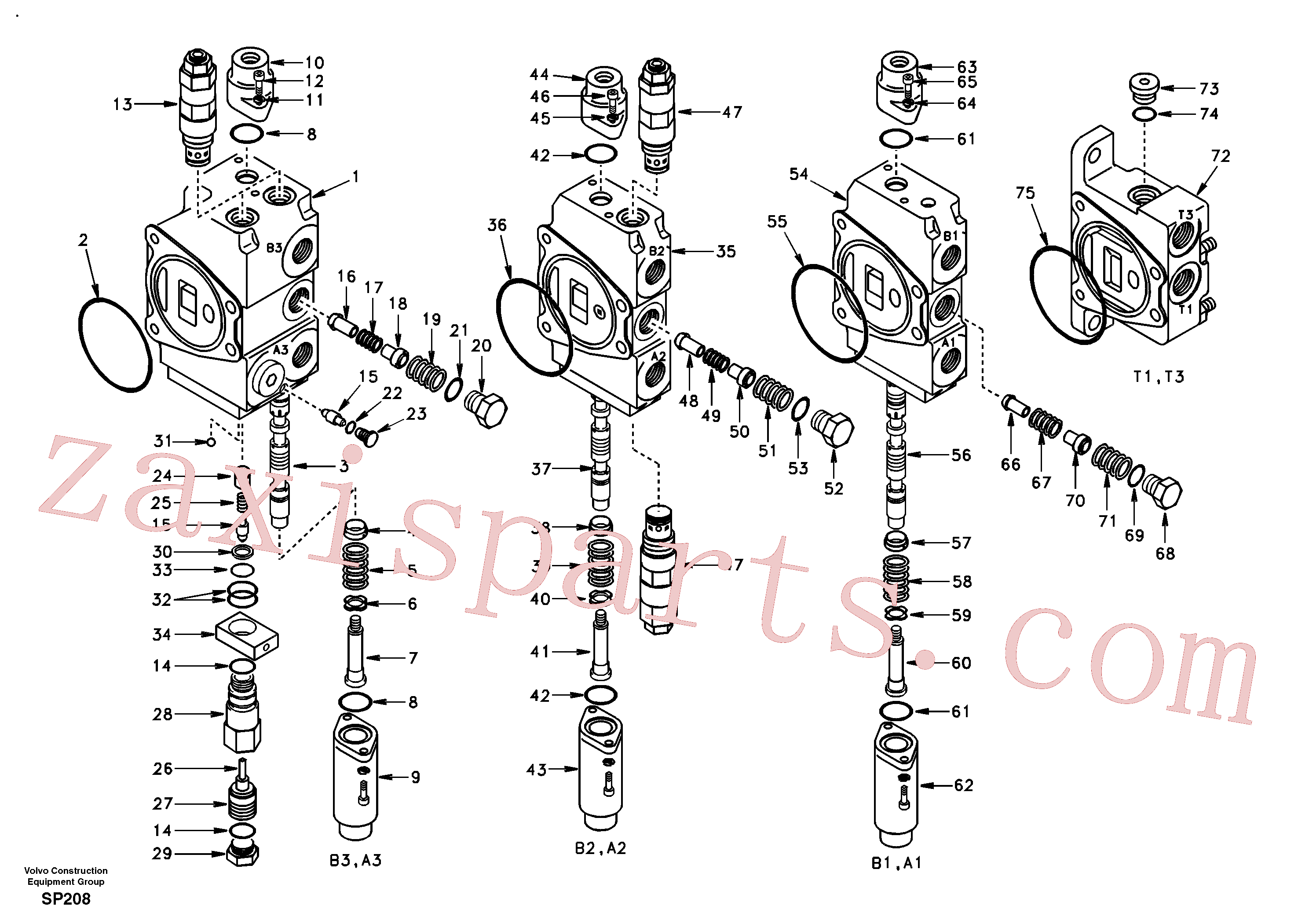 SA7250-21814 for Volvo Main control valve, boom 1 and bucket and dipper arm 2 and outlet.(SP208 assembly)