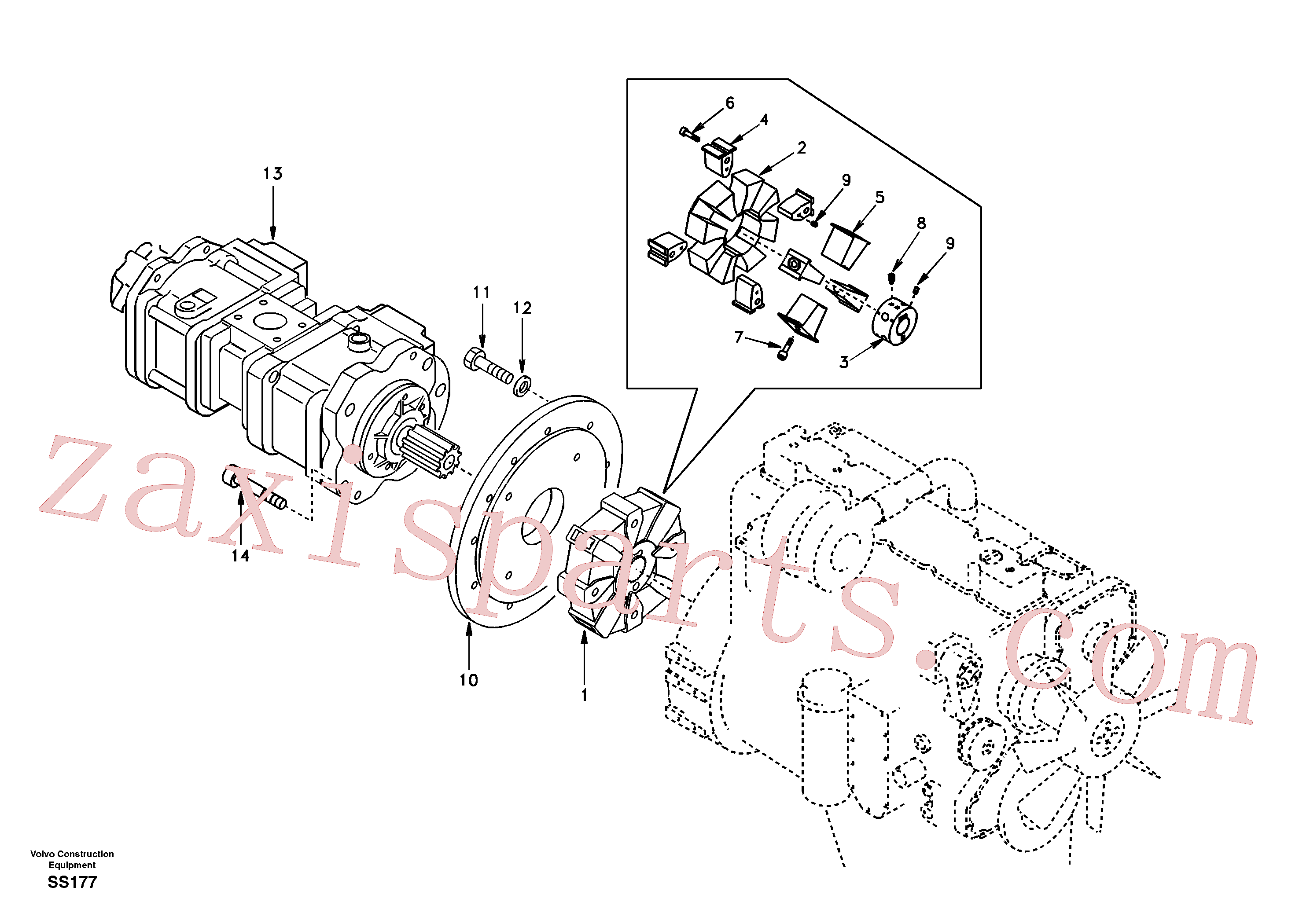SADF046 for Volvo Pump gearbox with assembling parts(SS177 assembly)