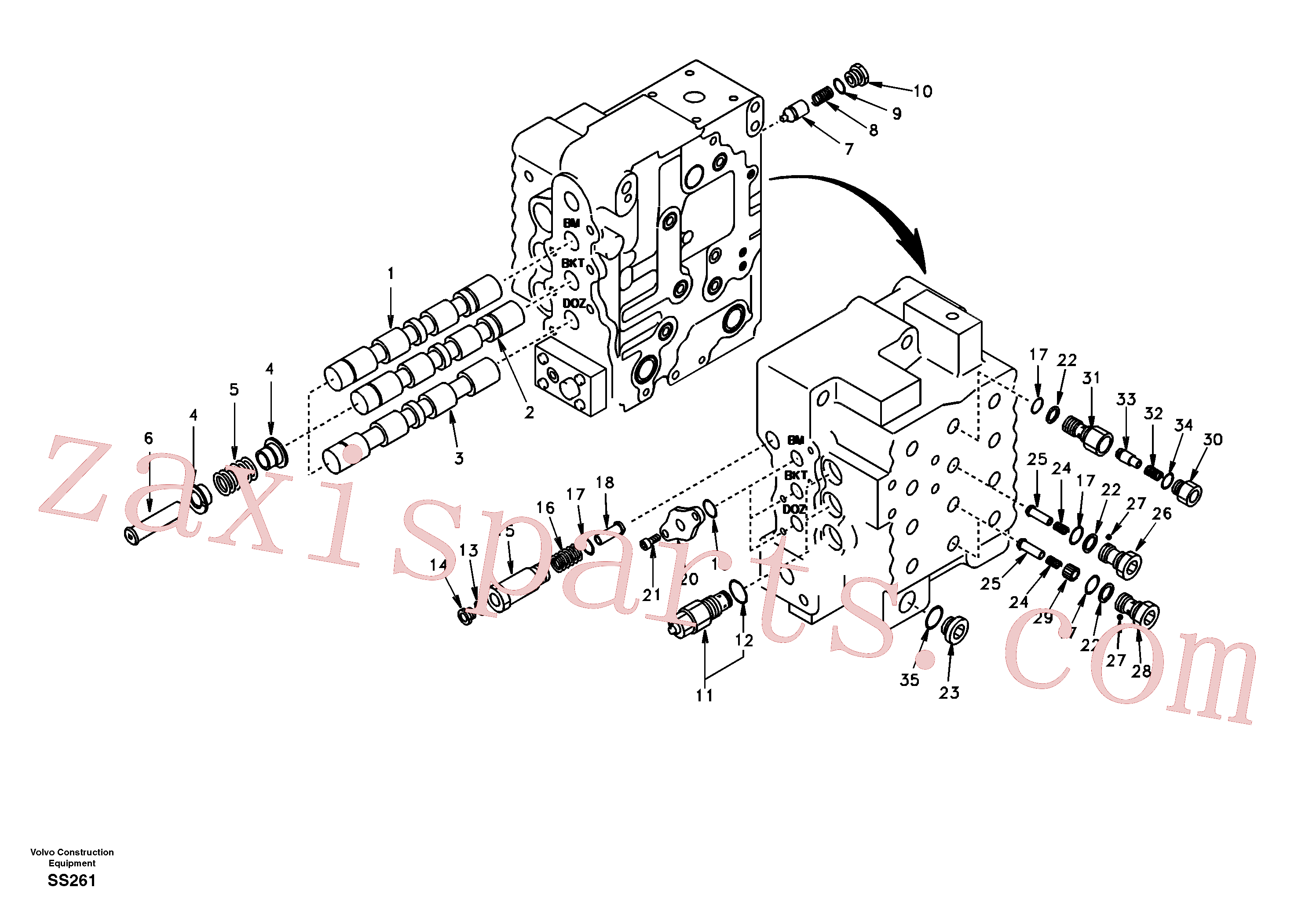 SA7272-03420 for Volvo Main control valve, boom and bucket and travel Rh(SS261 assembly)