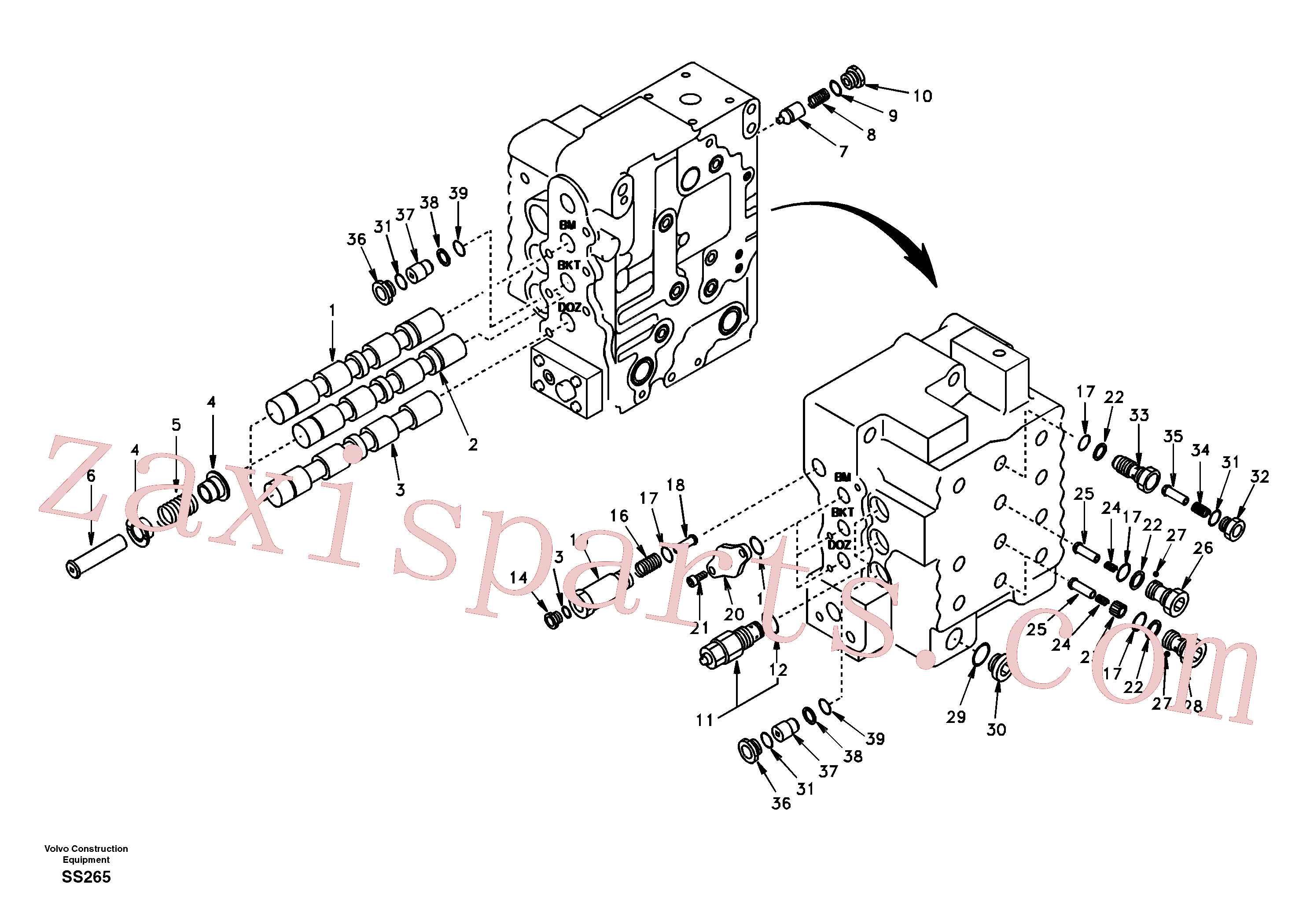SA8230-11810 for Volvo Main control valve, boom and bucket and travel Rh(SS265 assembly)