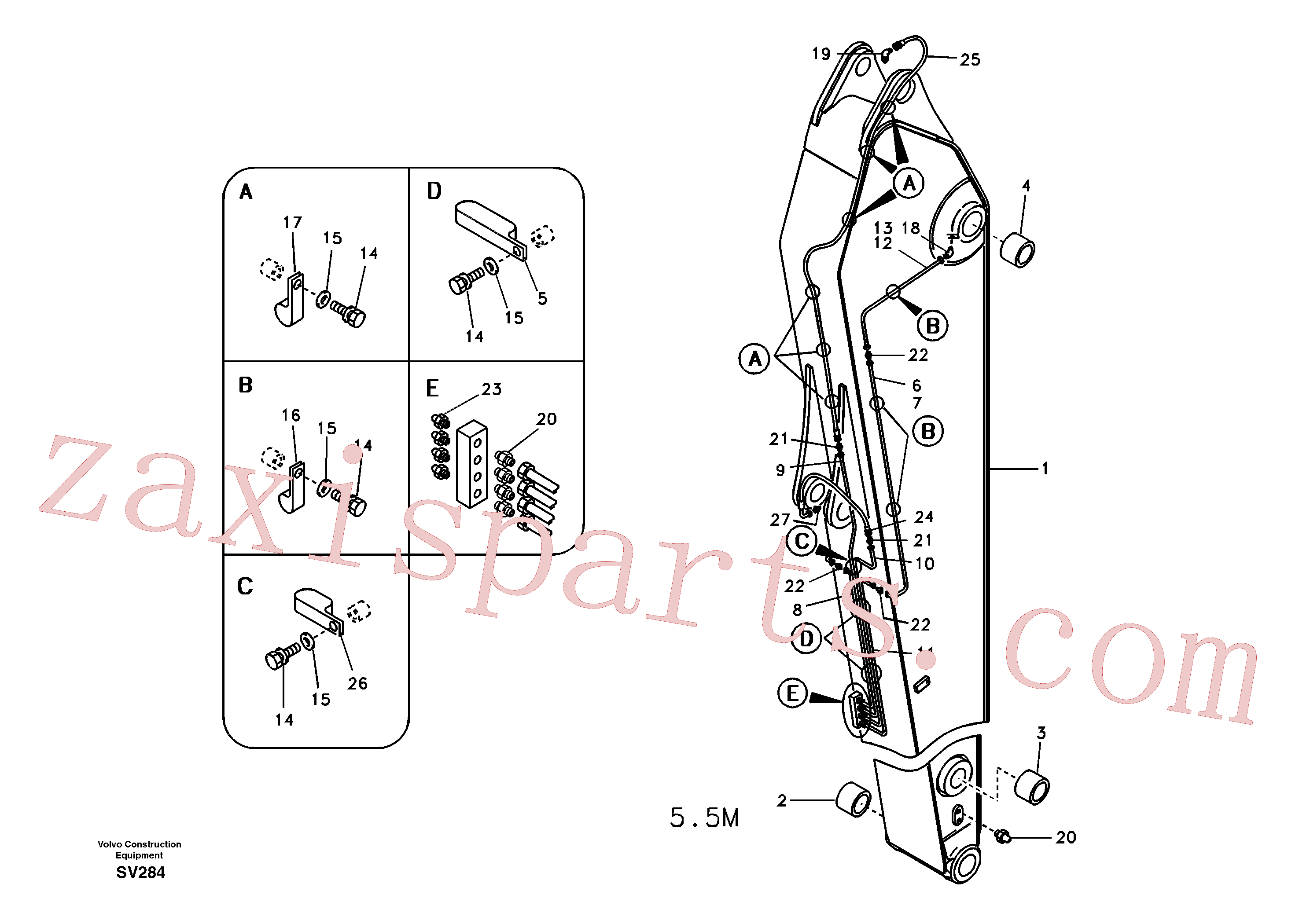 VOE14880988 for Volvo Dipper arm and grease piping with piping seat, long reach(SV284 assembly)