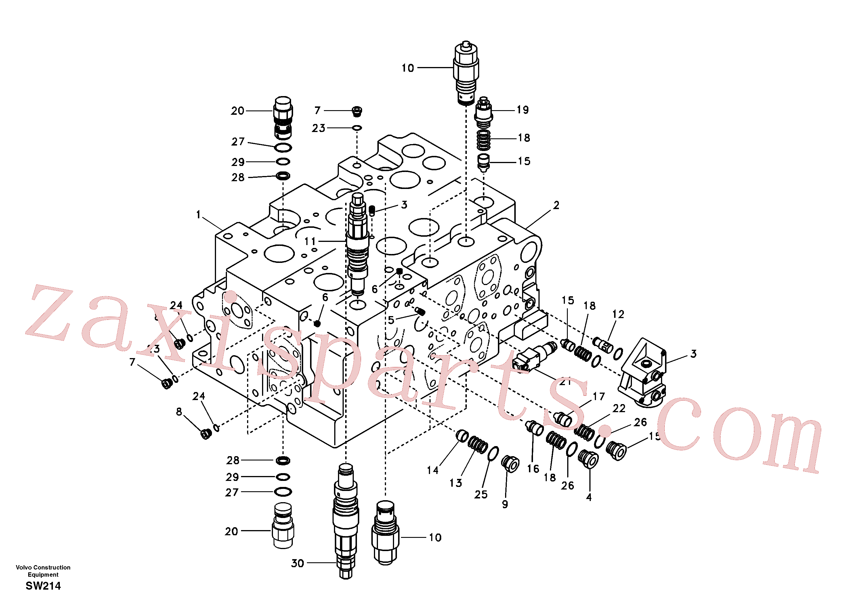 SA8230-36800 for Volvo Main control valve, relief valve and boom holding(SW214 assembly)