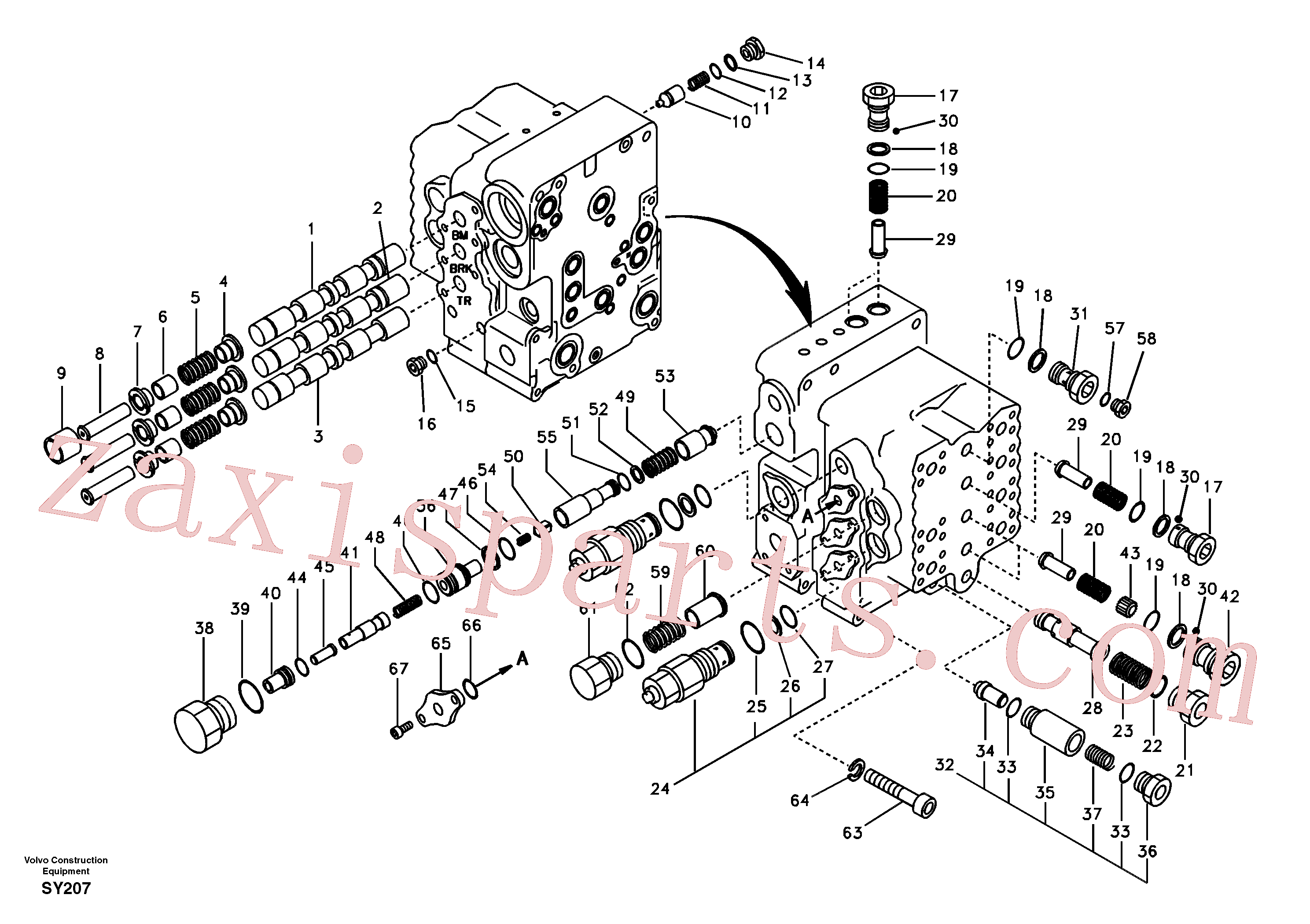 SA8230-12210 for Volvo Main control valve, boom and bucket and travel Rh(SY207 assembly)