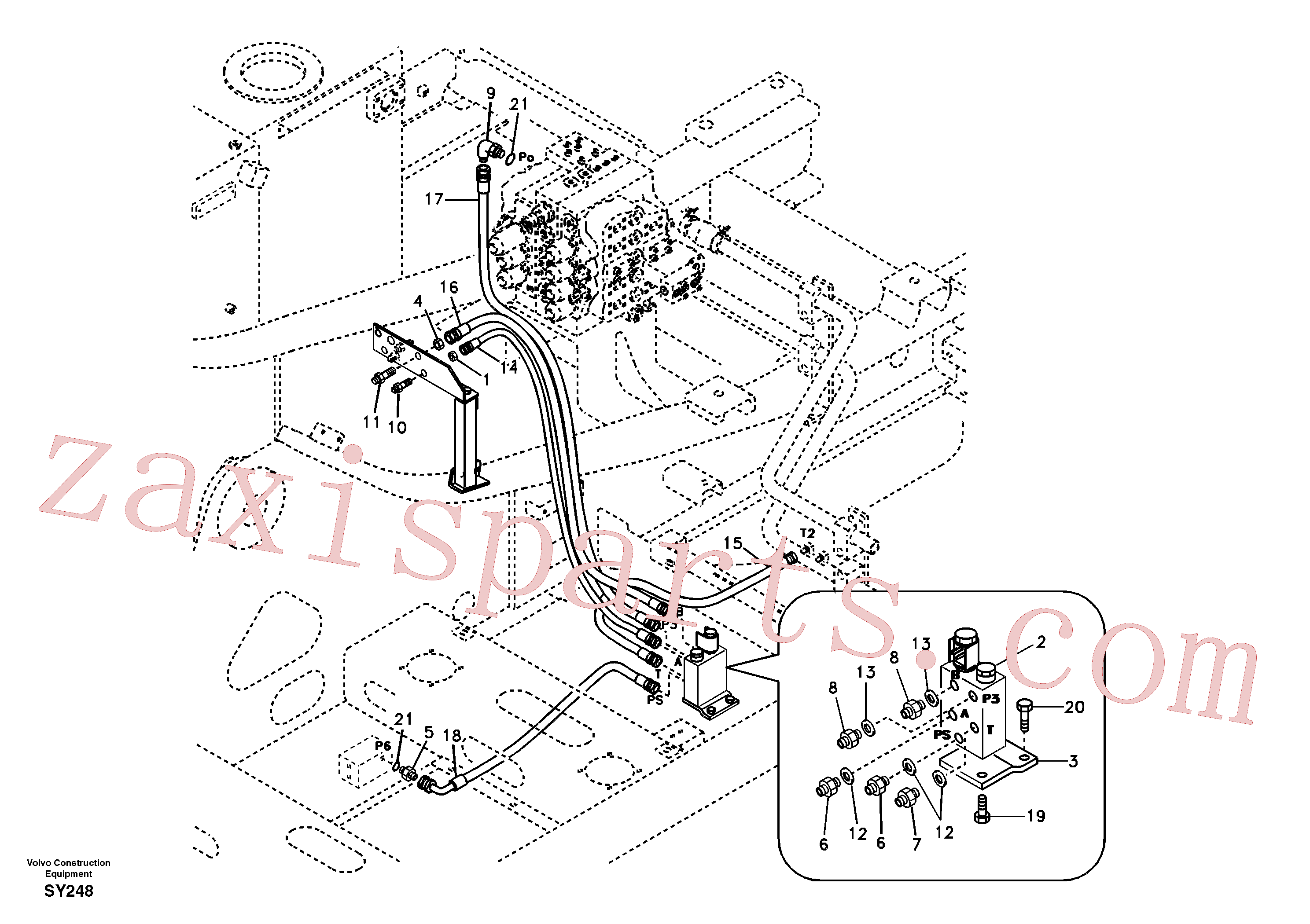 SA9453-02222 for Volvo Working hydraulic, quick fit on upper frame(SY248 assembly)