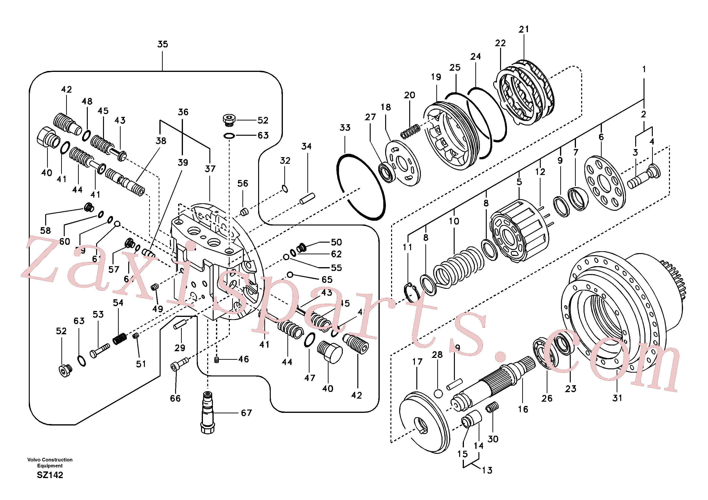 VOE14542031 for Volvo Travel motor(SZ142 assembly)