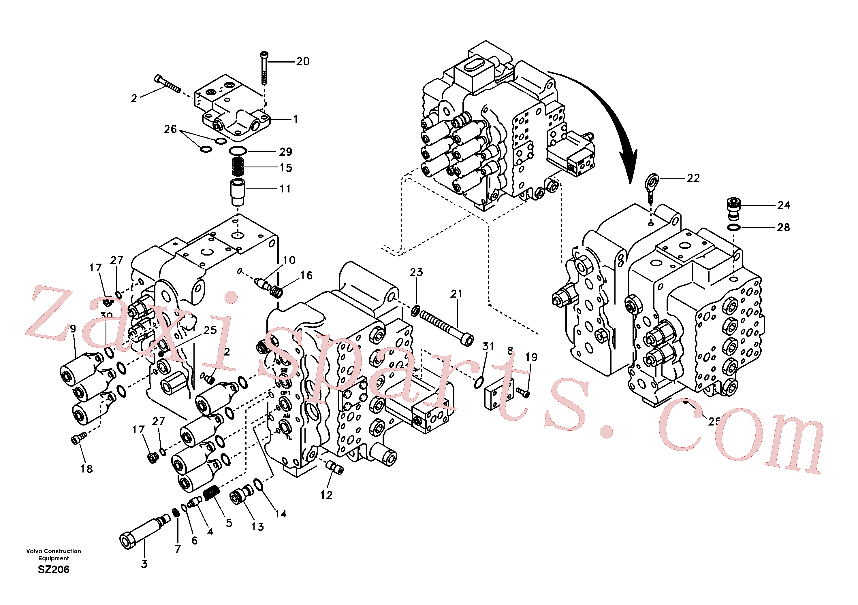 VOE14880071 for Volvo Main control valve, relief valve and boom holding(SZ206 assembly)