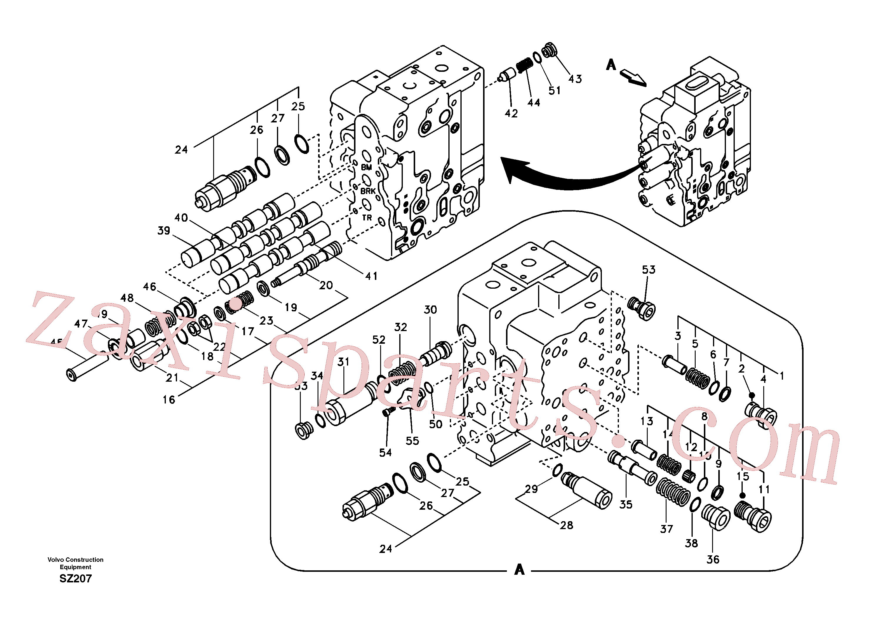 SA7272-03121 for Volvo Main control valve, boom and bucket and travel Rh(SZ207 assembly)